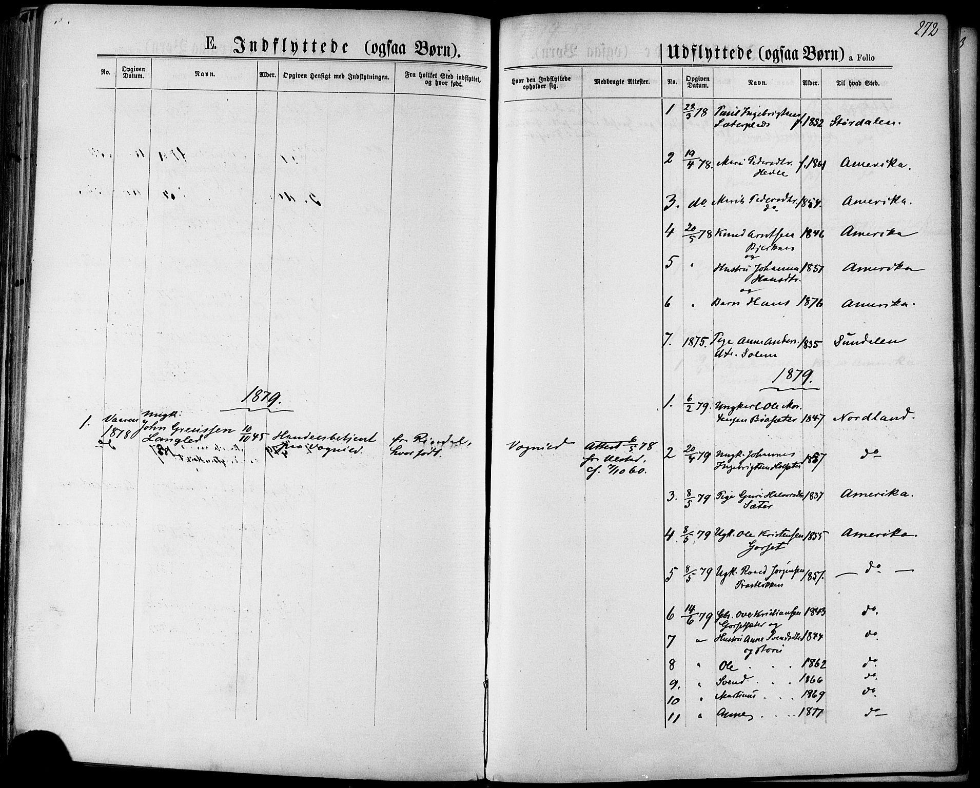 SAT, Ministerialprotokoller, klokkerbøker og fødselsregistre - Sør-Trøndelag, 678/L0900: Ministerialbok nr. 678A09, 1872-1881, s. 272