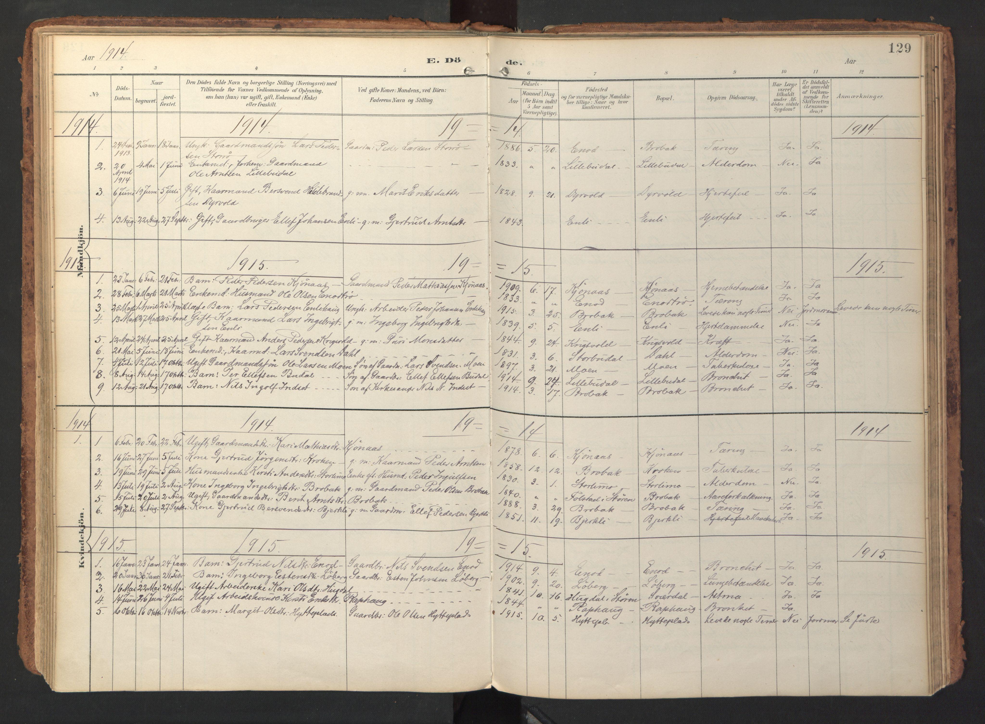SAT, Ministerialprotokoller, klokkerbøker og fødselsregistre - Sør-Trøndelag, 690/L1050: Ministerialbok nr. 690A01, 1889-1929, s. 129