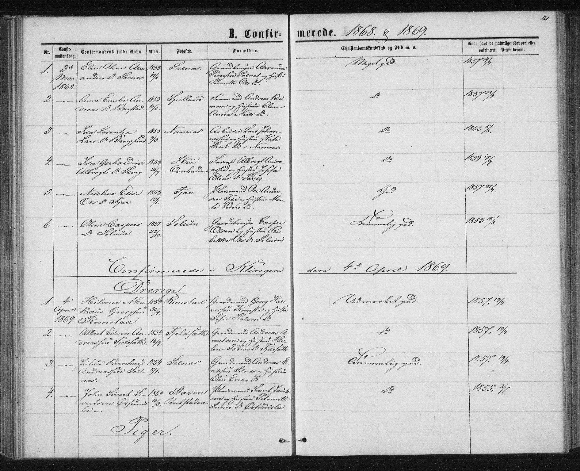 SAT, Ministerialprotokoller, klokkerbøker og fødselsregistre - Nord-Trøndelag, 768/L0570: Ministerialbok nr. 768A05, 1865-1874, s. 121