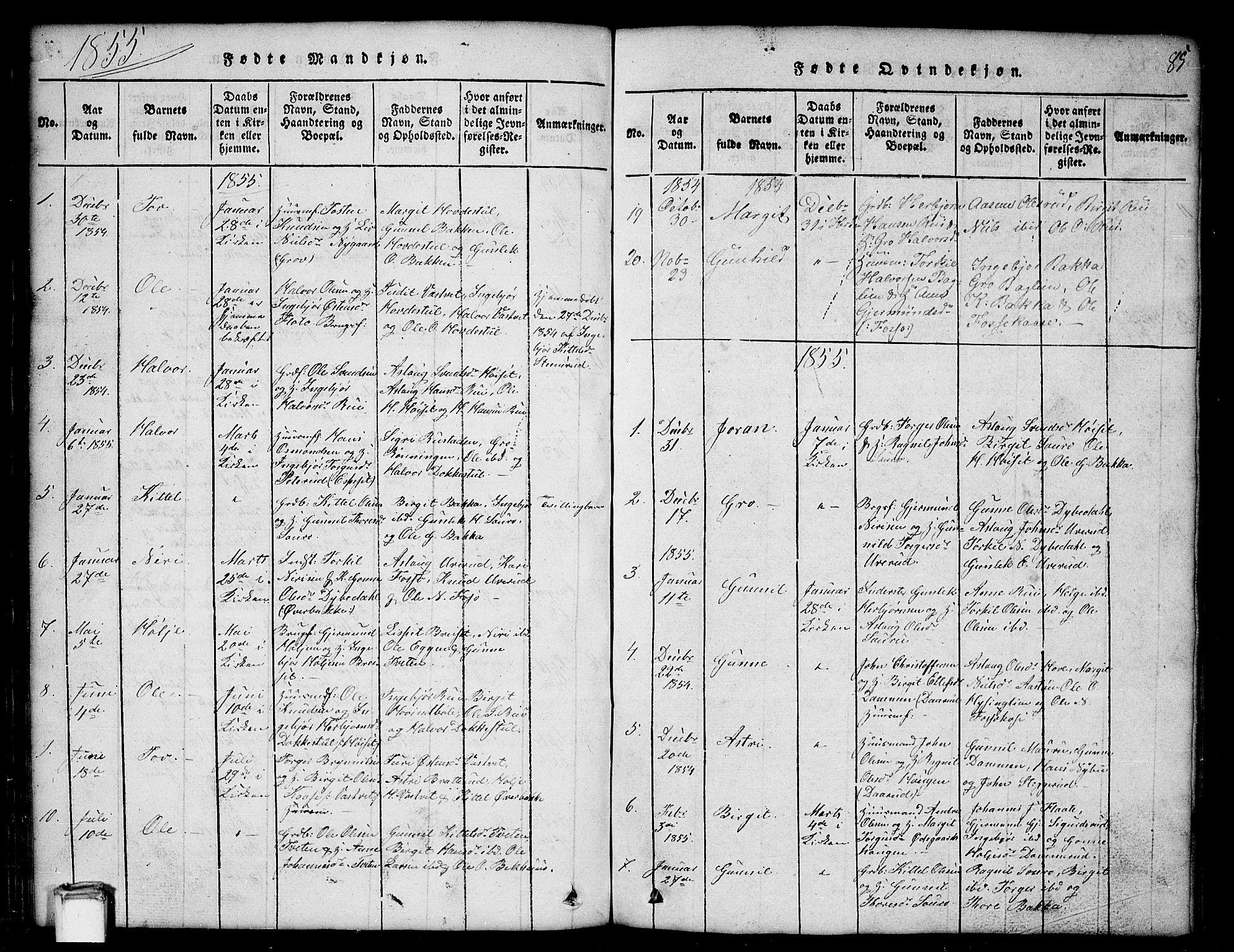 SAKO, Gransherad kirkebøker, G/Gb/L0001: Klokkerbok nr. II 1, 1815-1860, s. 85