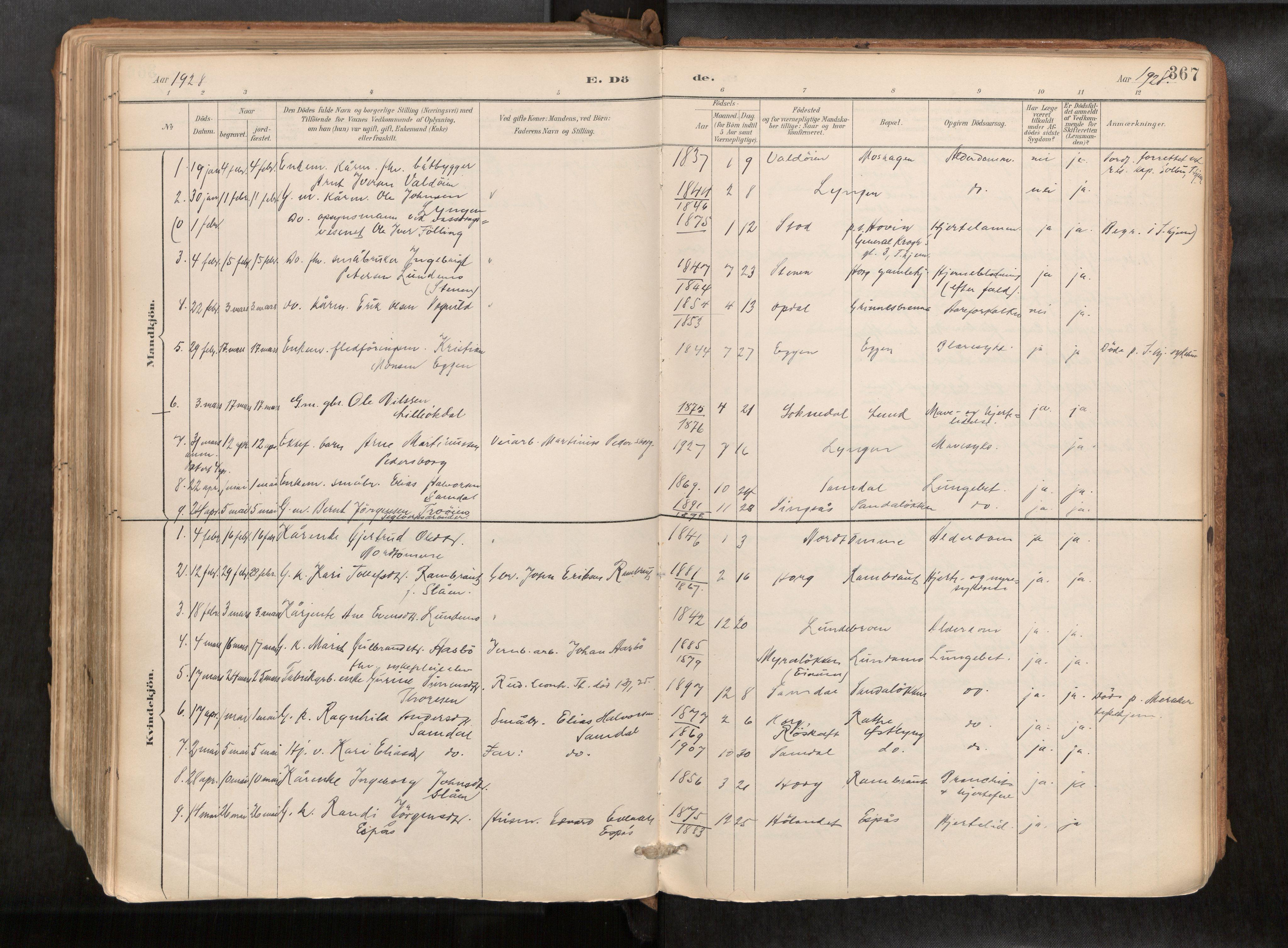 SAT, Ministerialprotokoller, klokkerbøker og fødselsregistre - Sør-Trøndelag, 692/L1105b: Ministerialbok nr. 692A06, 1891-1934, s. 367