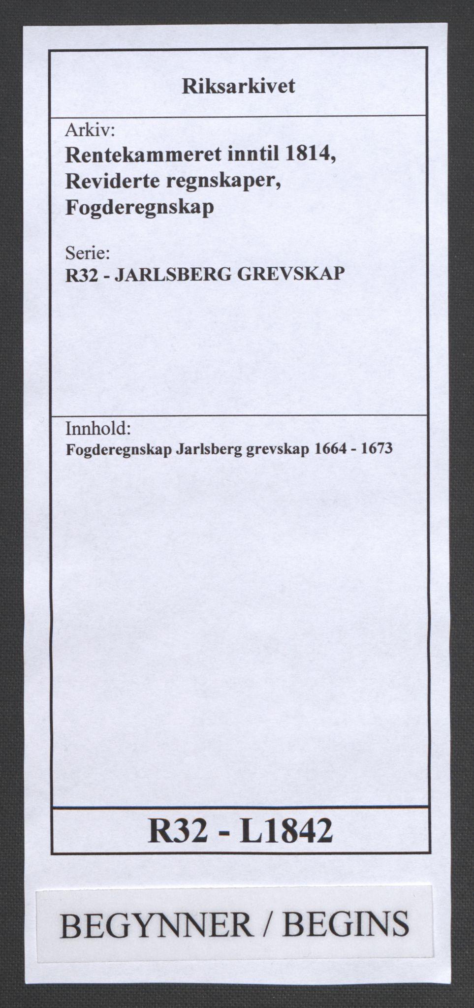 RA, Rentekammeret inntil 1814, Reviderte regnskaper, Fogderegnskap, R32/L1842: Fogderegnskap Jarlsberg grevskap, 1664-1673, s. 1