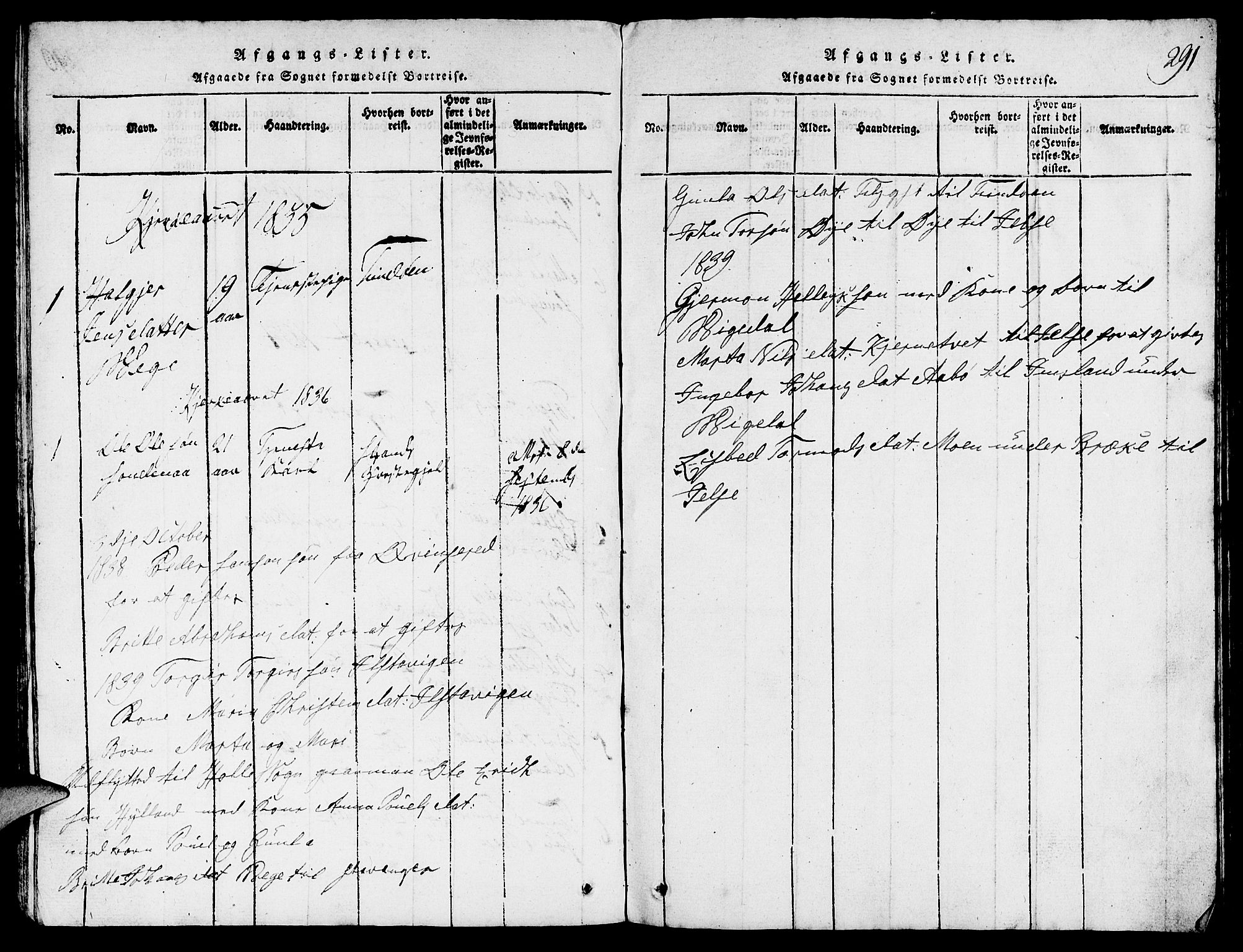 SAST, Suldal sokneprestkontor, V/L0002: Klokkerbok nr. B 2, 1816-1845, s. 291