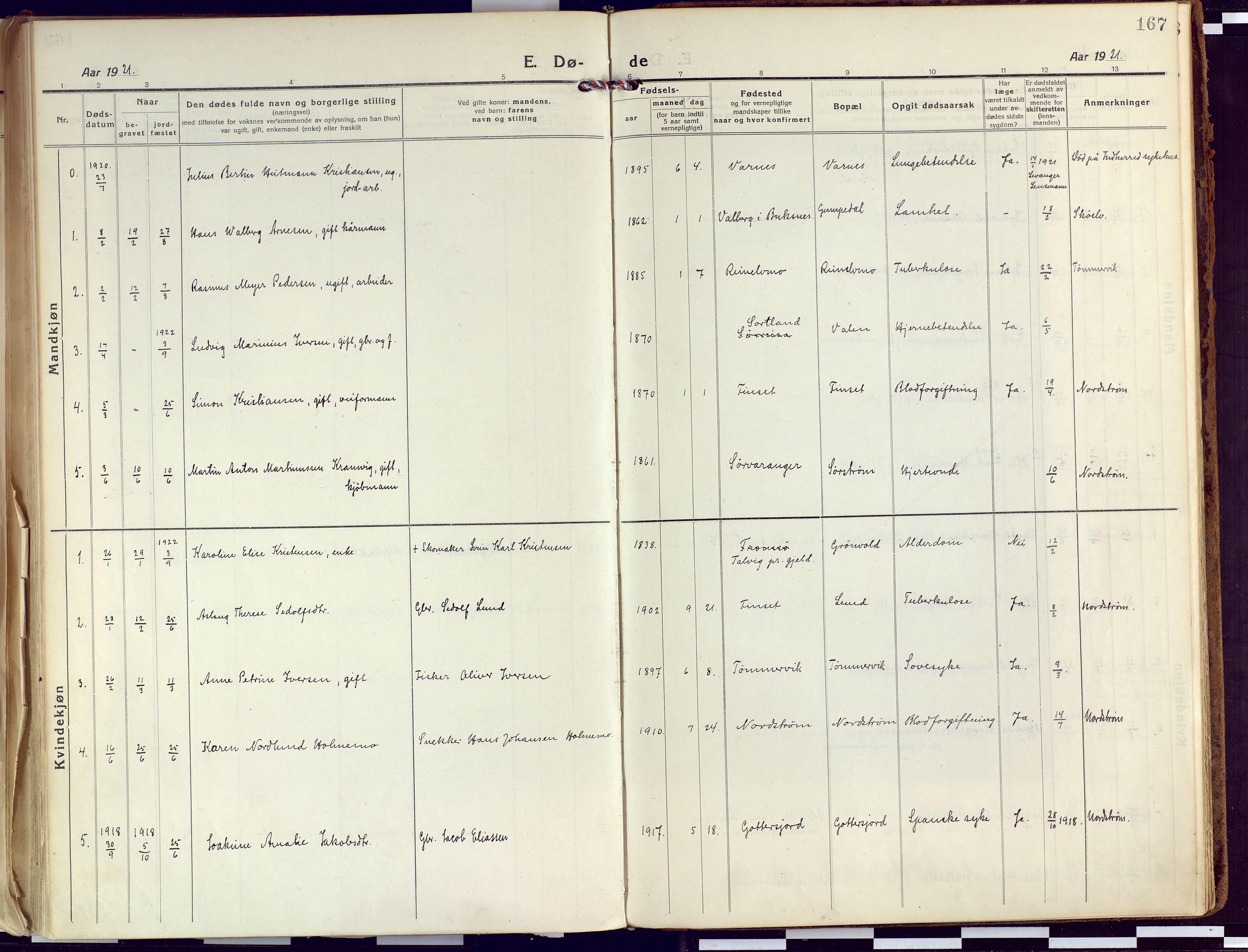 SATØ, Tranøy sokneprestkontor, I/Ia/Iaa/L0015kirke: Ministerialbok nr. 15, 1919-1928, s. 167