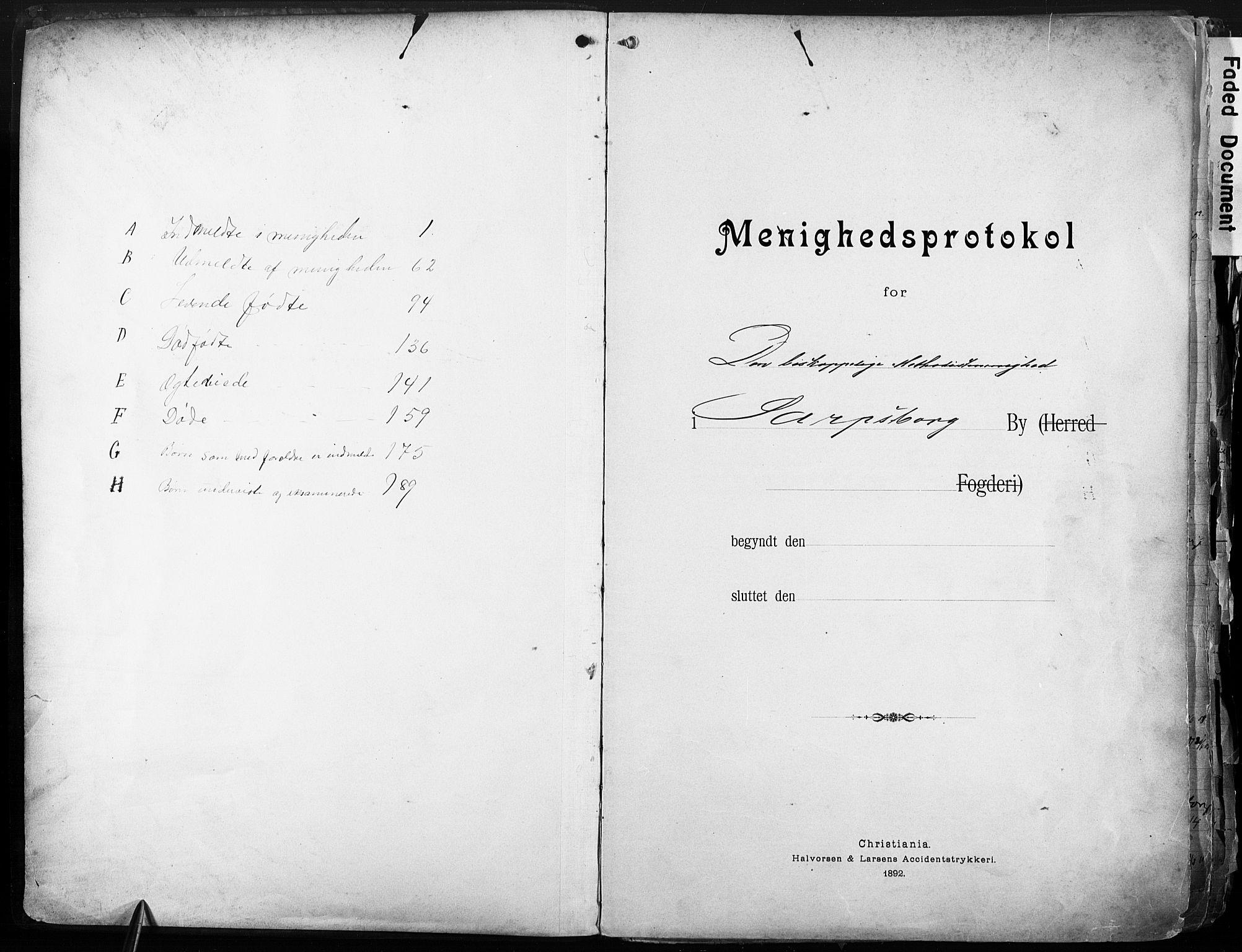 SAO, Sarpsborg metodistkirke, A/L0004: Dissenterprotokoll nr. 4, 1892-1923