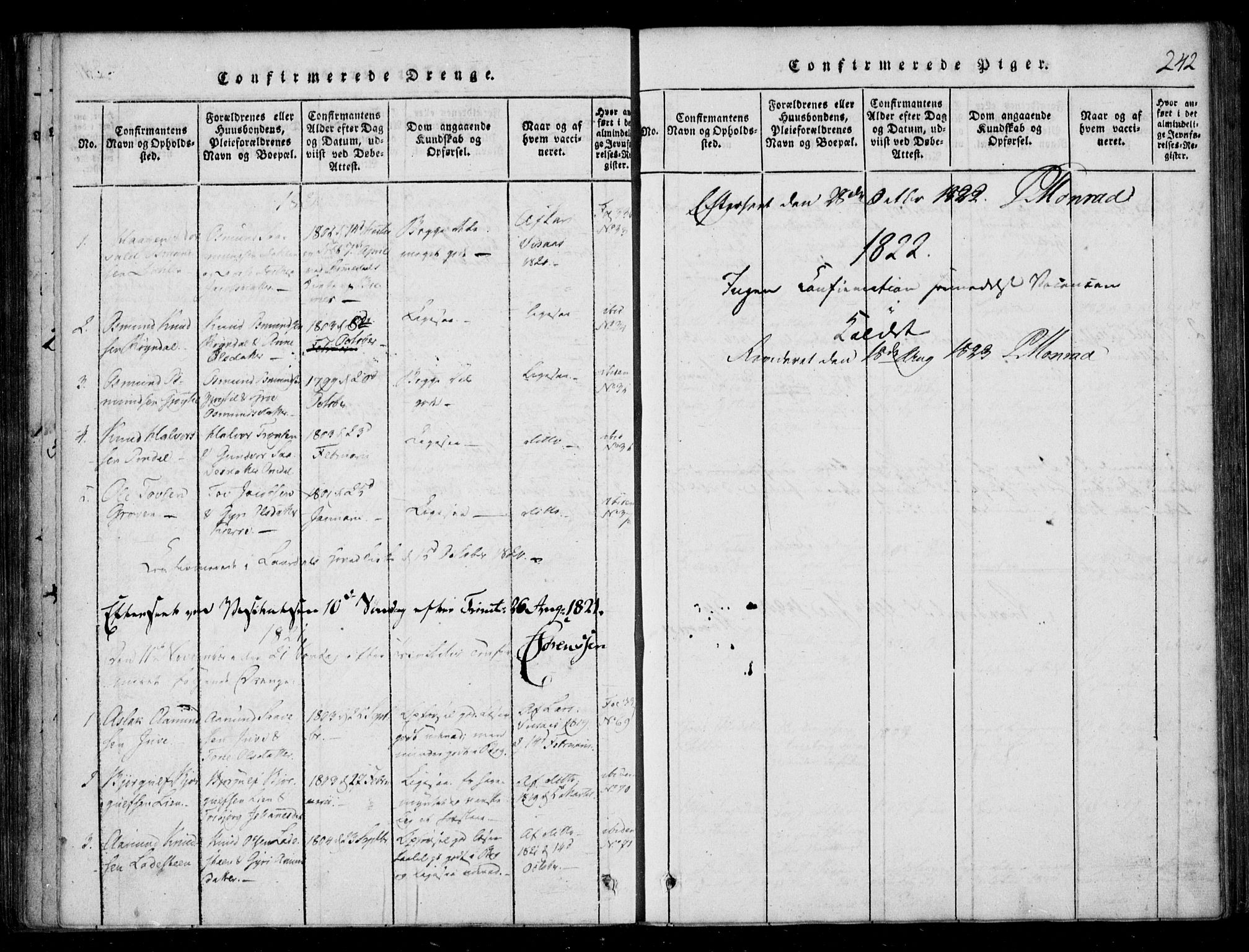 SAKO, Lårdal kirkebøker, F/Fb/L0001: Ministerialbok nr. II 1, 1815-1860, s. 242