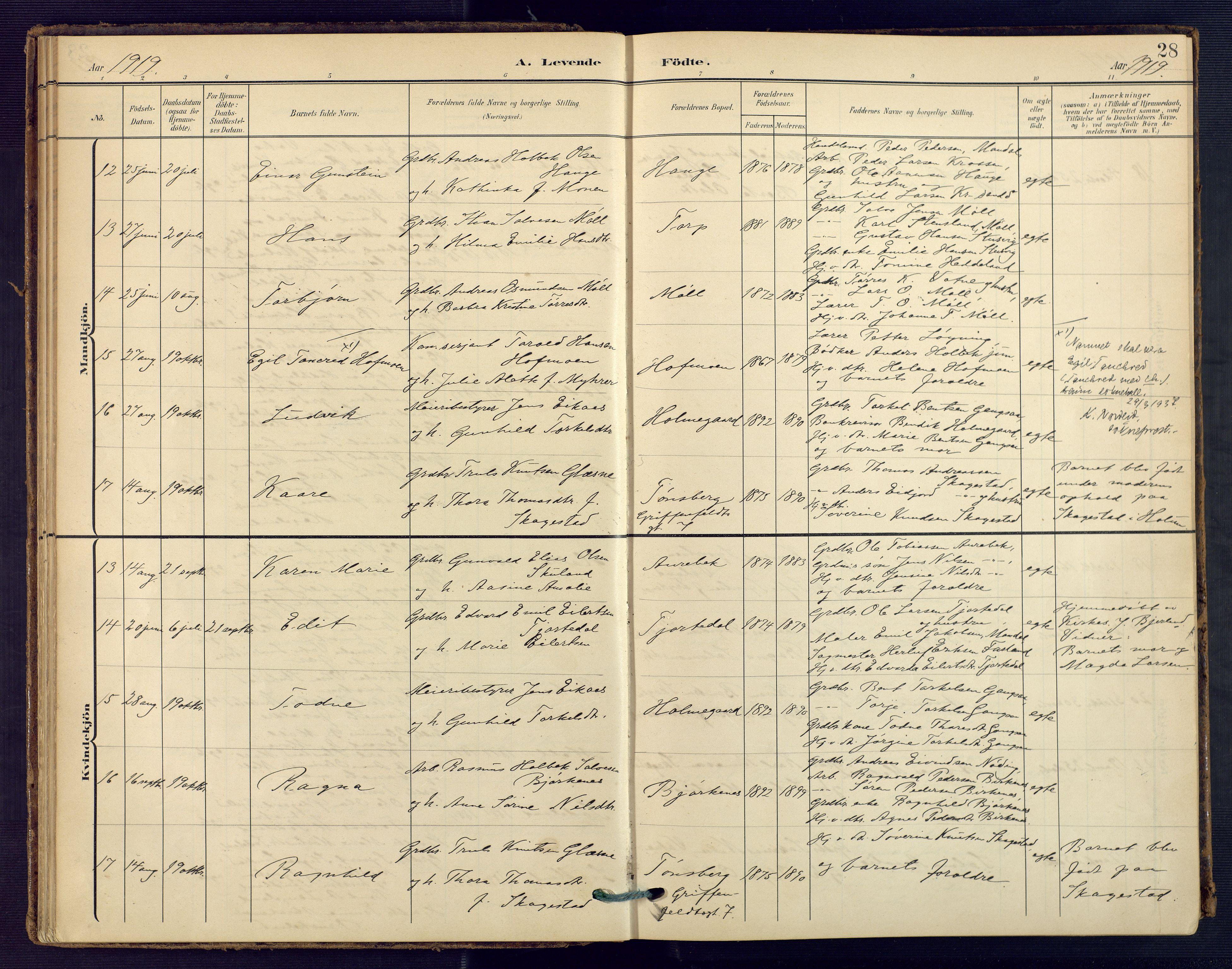 SAK, Holum sokneprestkontor, F/Fa/Faa/L0008: Ministerialbok nr. A 8, 1908-1929, s. 28