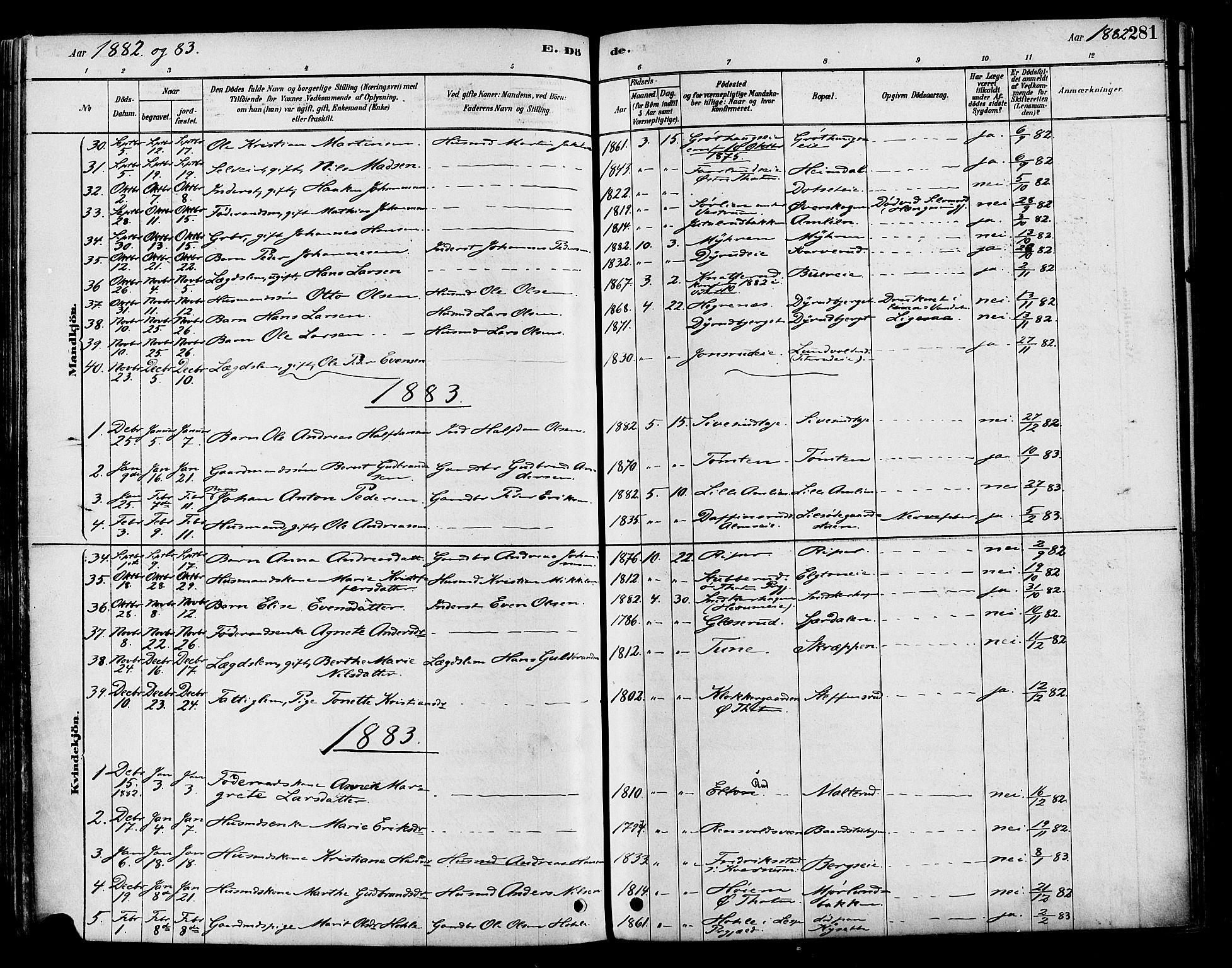 SAH, Vestre Toten prestekontor, Ministerialbok nr. 9, 1878-1894, s. 281