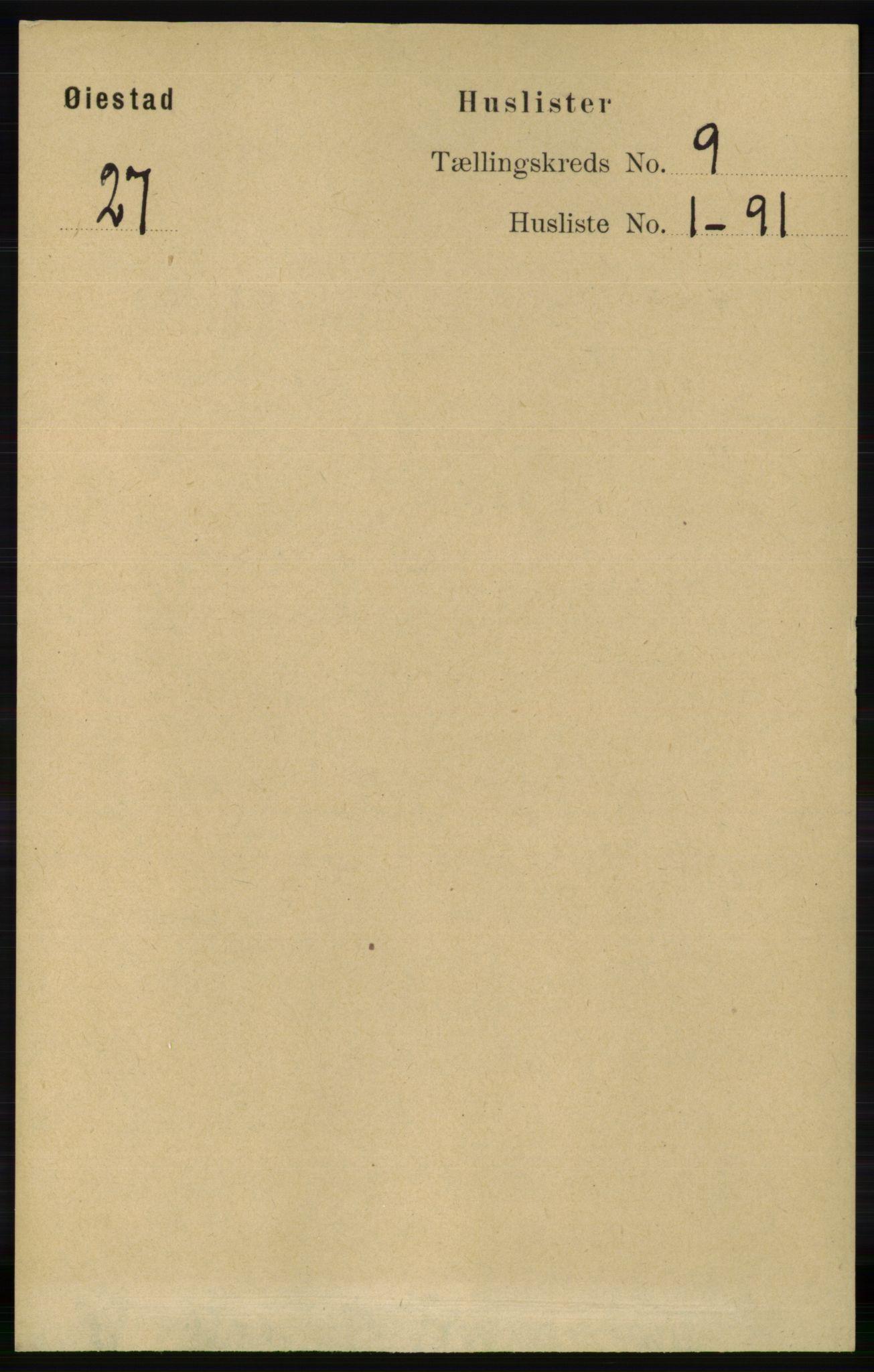 RA, Folketelling 1891 for 0920 Øyestad herred, 1891, s. 3470