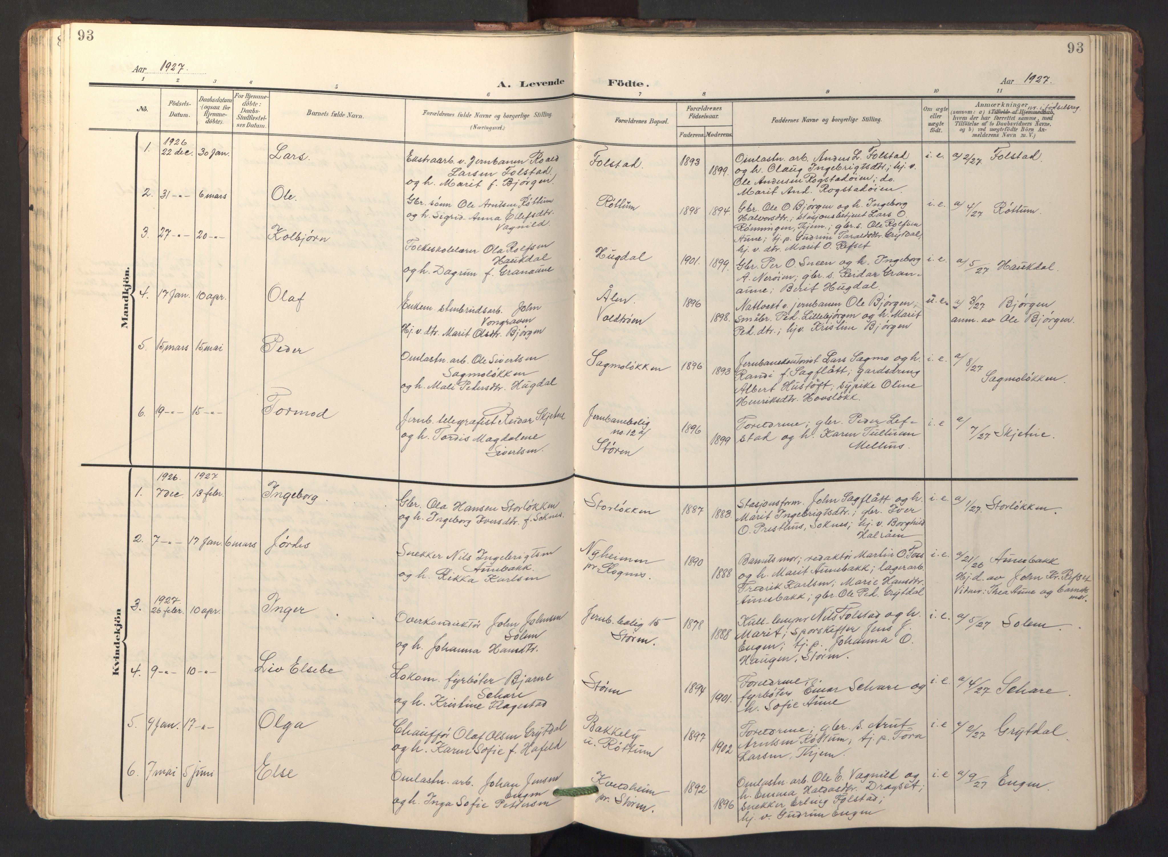 SAT, Ministerialprotokoller, klokkerbøker og fødselsregistre - Sør-Trøndelag, 687/L1019: Klokkerbok nr. 687C03, 1904-1931, s. 93