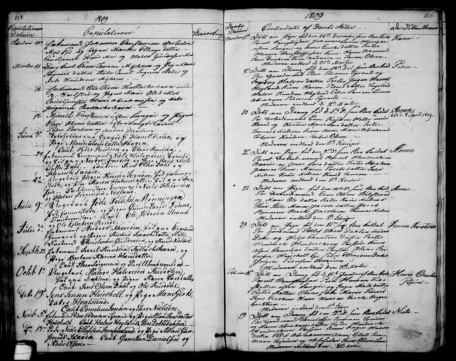 SAKO, Sannidal kirkebøker, F/Fa/L0003: Ministerialbok nr. 3, 1803-1813, s. 114-115