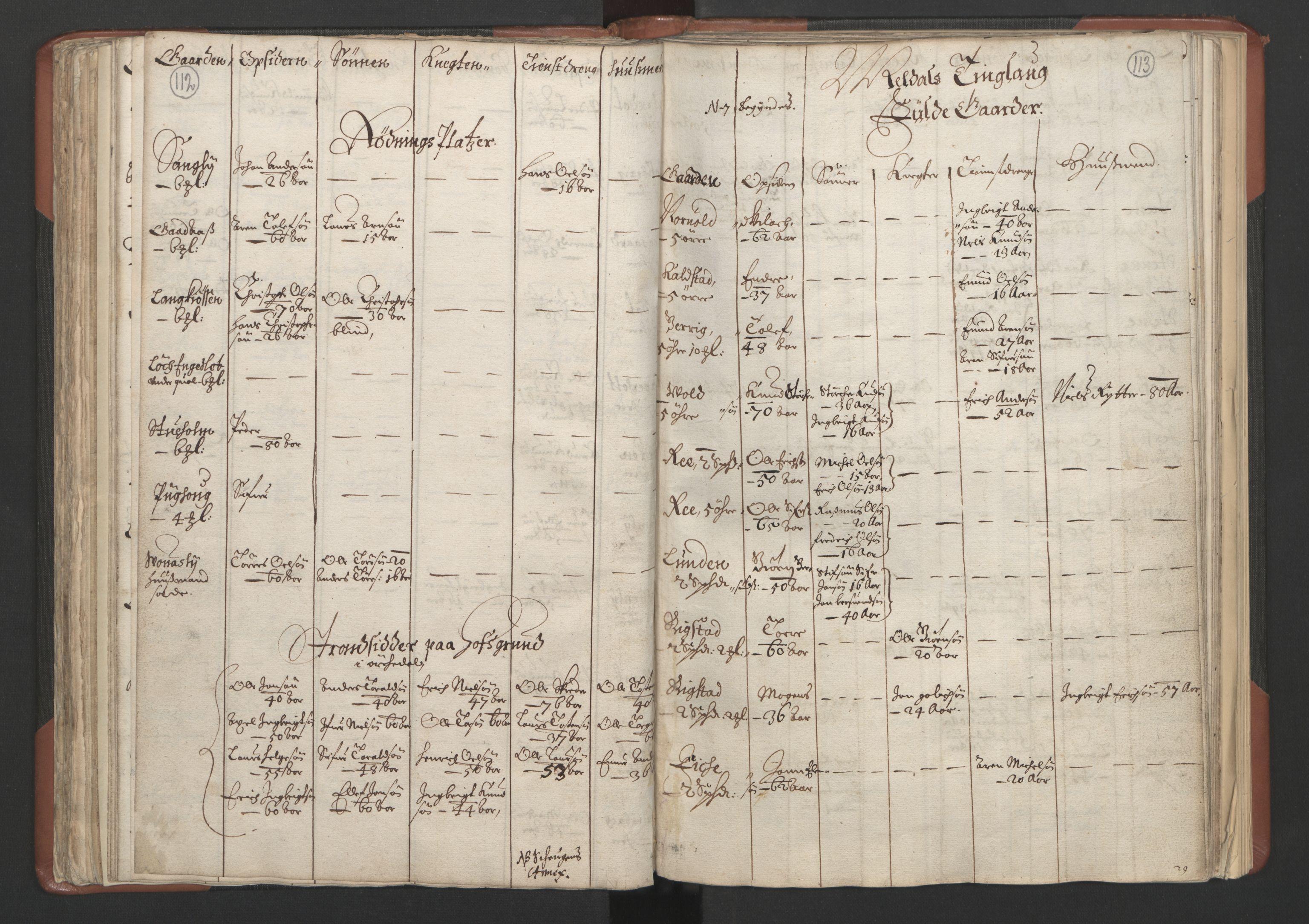 RA, Fogdenes og sorenskrivernes manntall 1664-1666, nr. 18: Gauldal fogderi, Strinda fogderi og Orkdal fogderi, 1664, s. 112-113
