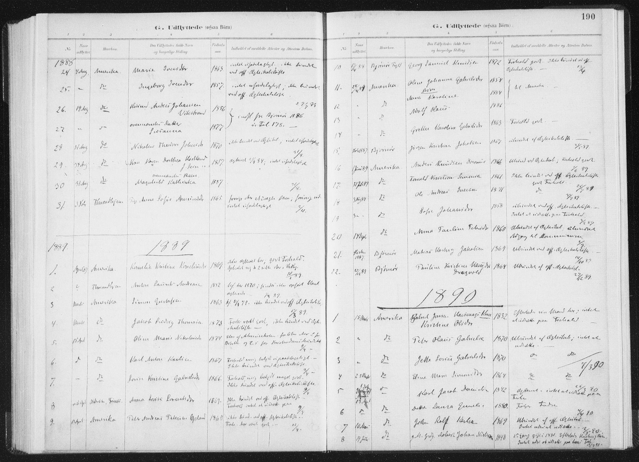 SAT, Ministerialprotokoller, klokkerbøker og fødselsregistre - Nord-Trøndelag, 771/L0597: Ministerialbok nr. 771A04, 1885-1910, s. 190
