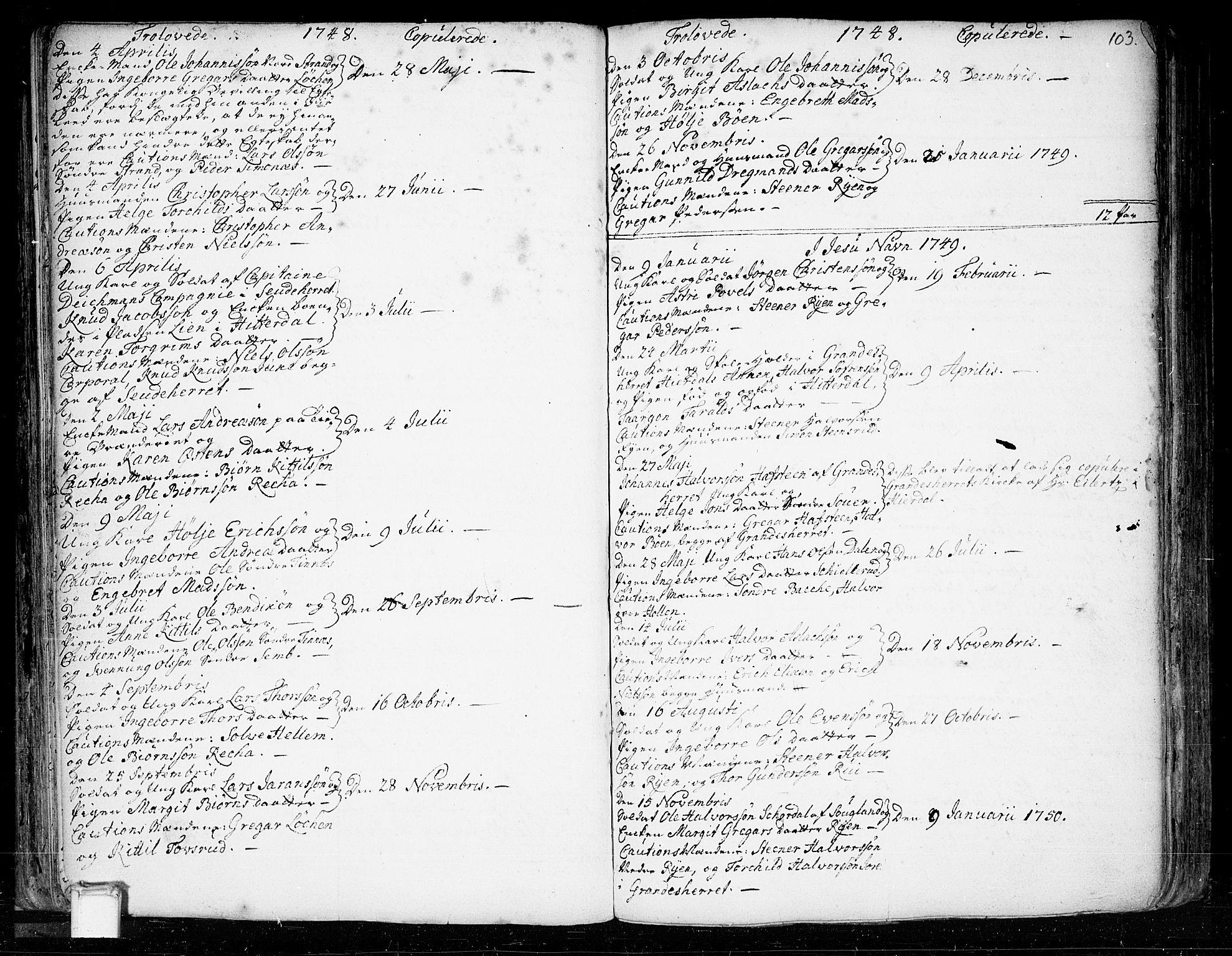 SAKO, Heddal kirkebøker, F/Fa/L0003: Ministerialbok nr. I 3, 1723-1783, s. 103