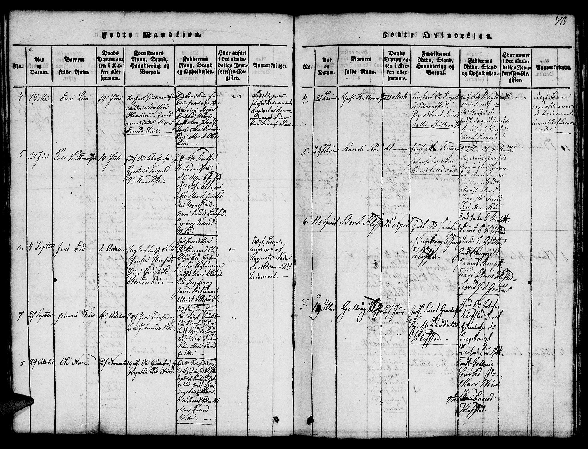 SAT, Ministerialprotokoller, klokkerbøker og fødselsregistre - Sør-Trøndelag, 694/L1130: Klokkerbok nr. 694C02, 1816-1857, s. 78