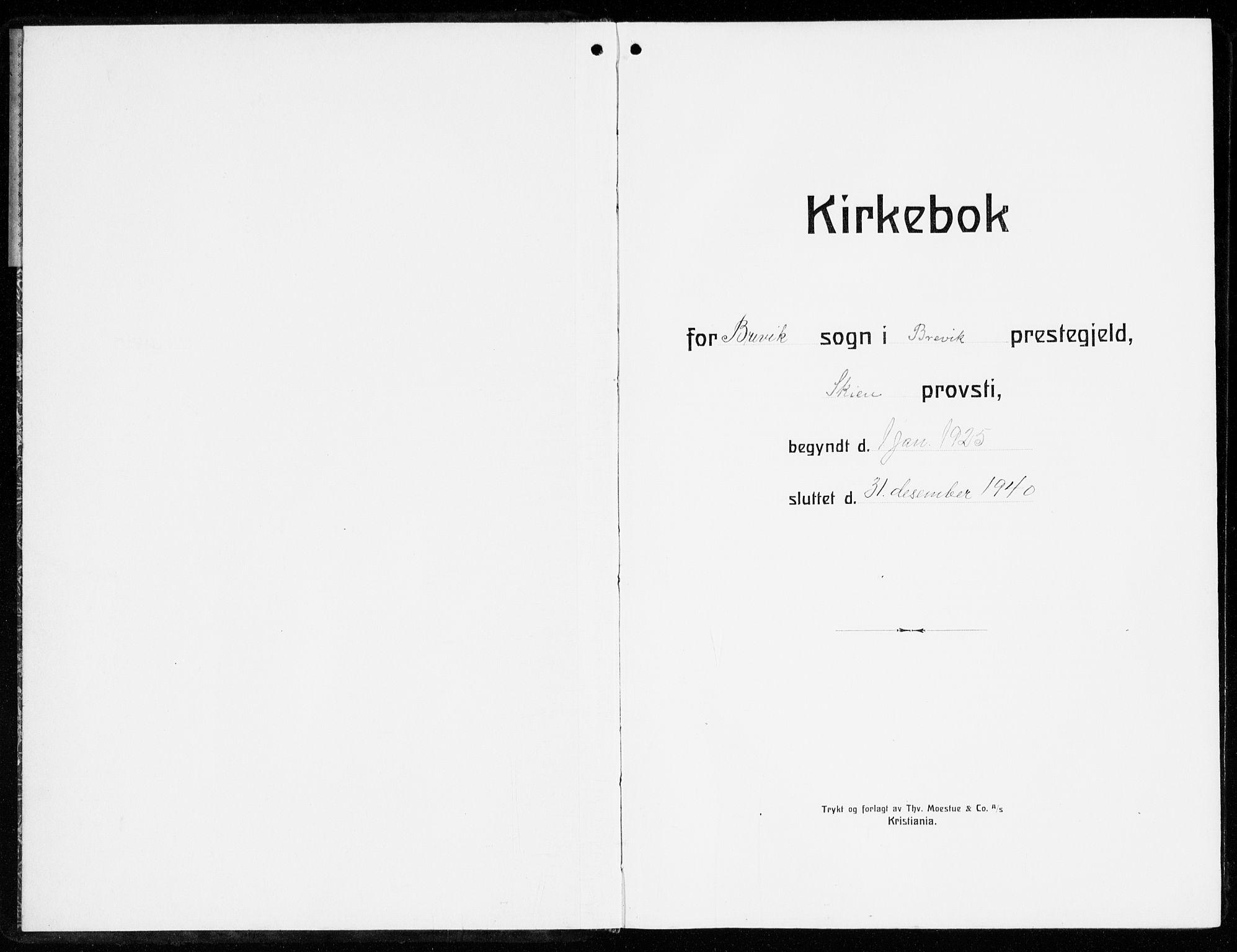 SAKO, Brevik kirkebøker, G/Ga/L0006: Klokkerbok nr. 6, 1922-1940