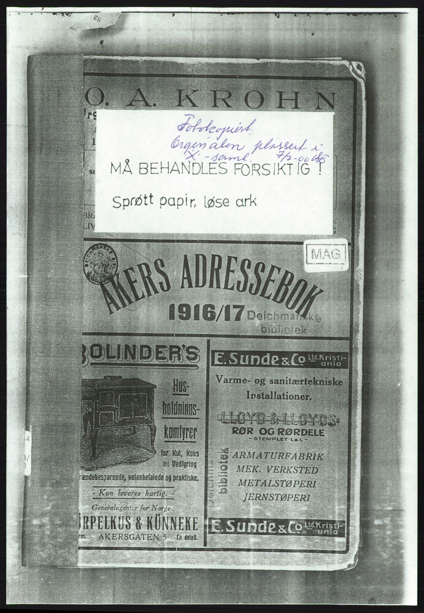 PUBL, Aker adressebok/adressekalender, 1916-1917