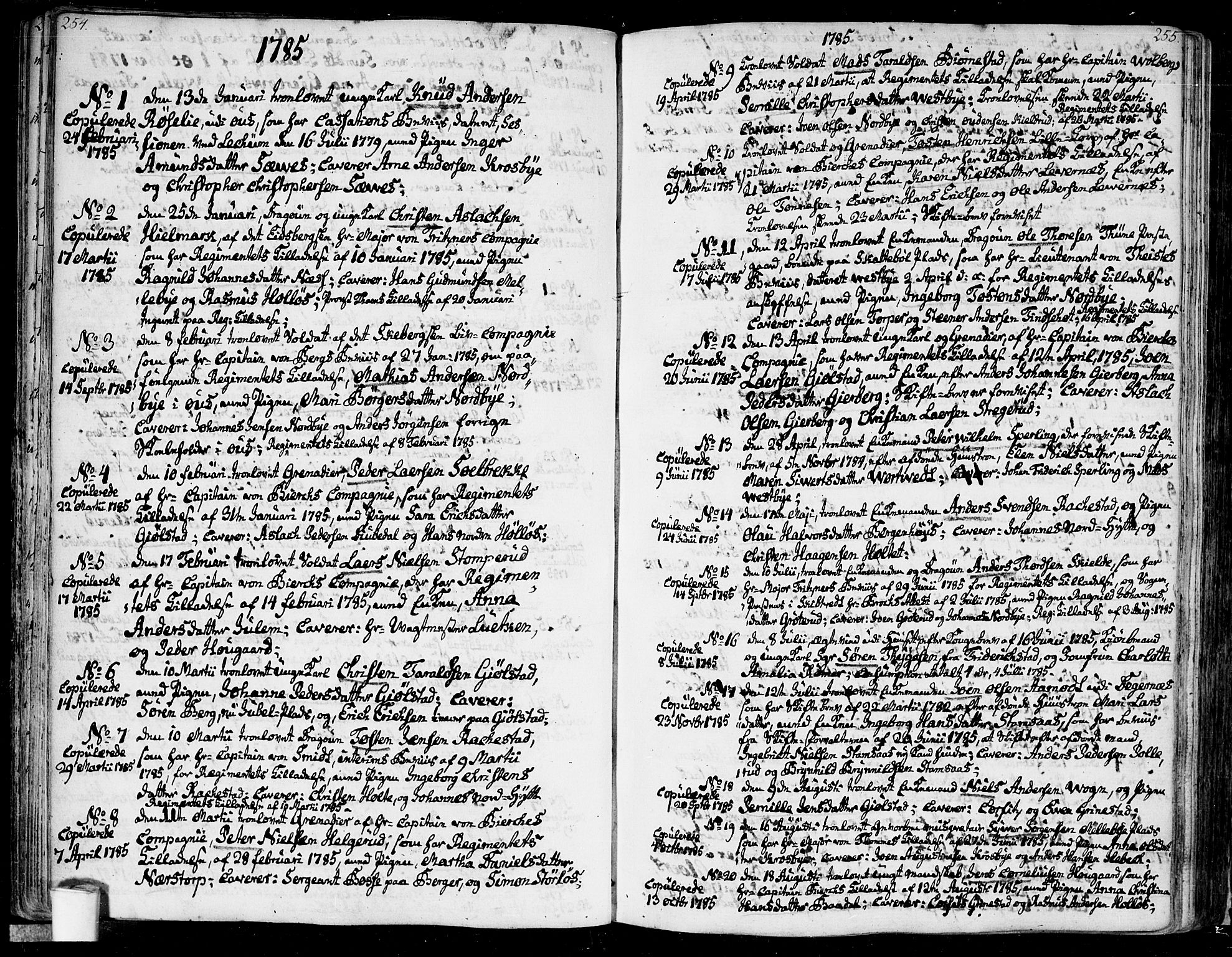 SAO, Rakkestad prestekontor Kirkebøker, F/Fa/L0005: Ministerialbok nr. I 5, 1784-1814, s. 254-255