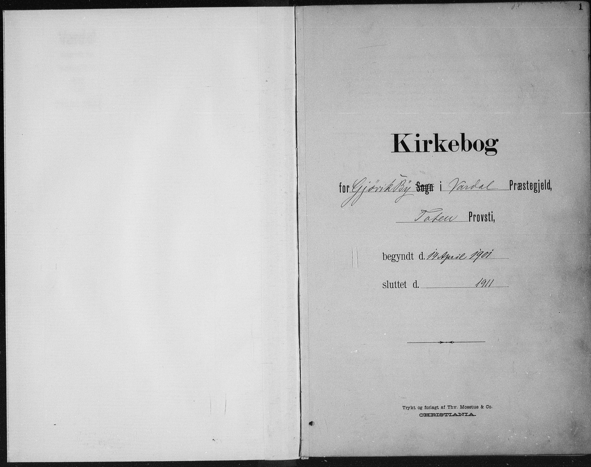 SAH, Vardal prestekontor, H/Ha/Haa/L0013: Ministerialbok nr. 13, 1901-1911, s. 1