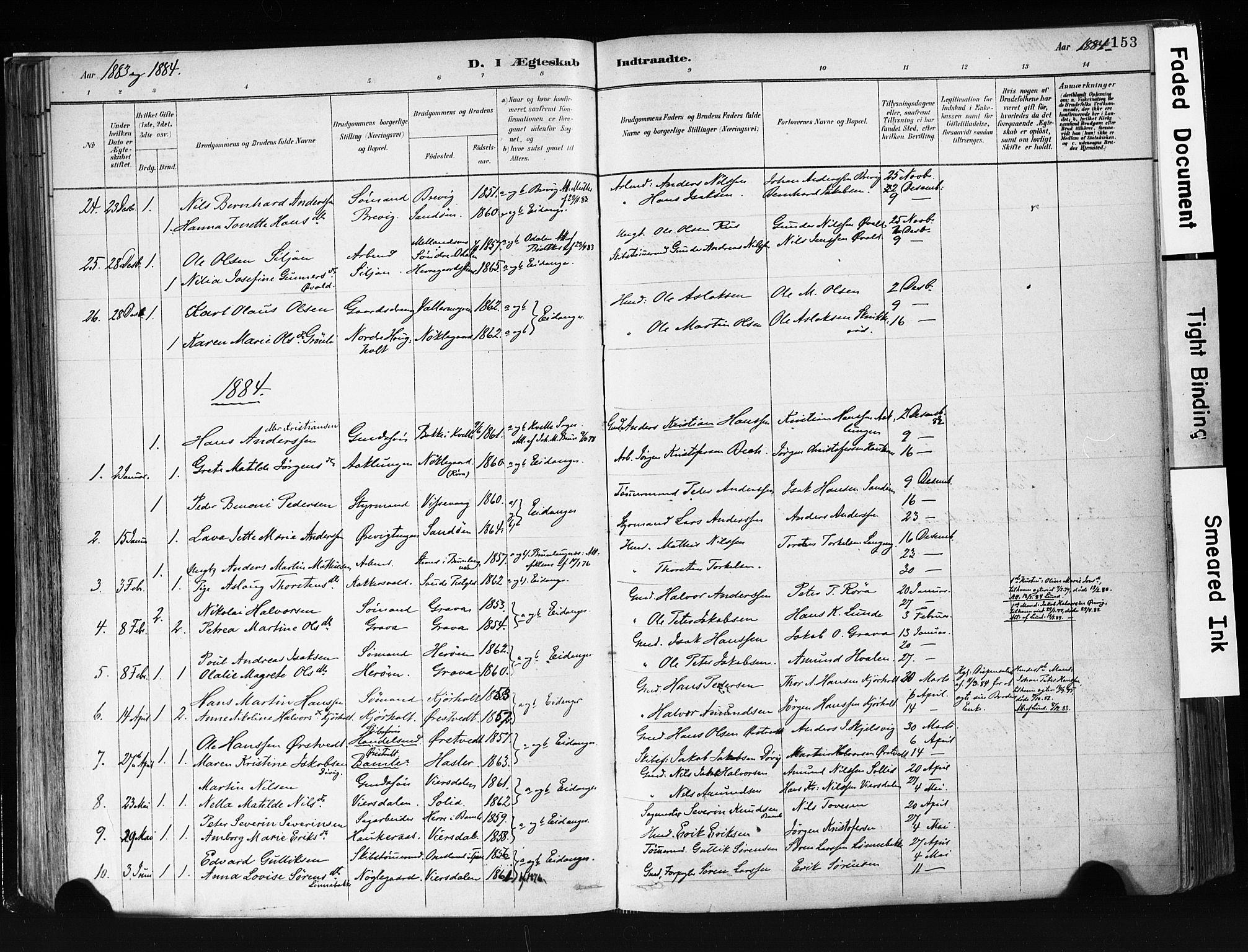 SAKO, Eidanger kirkebøker, F/Fa/L0012: Ministerialbok nr. 12, 1879-1900, s. 153