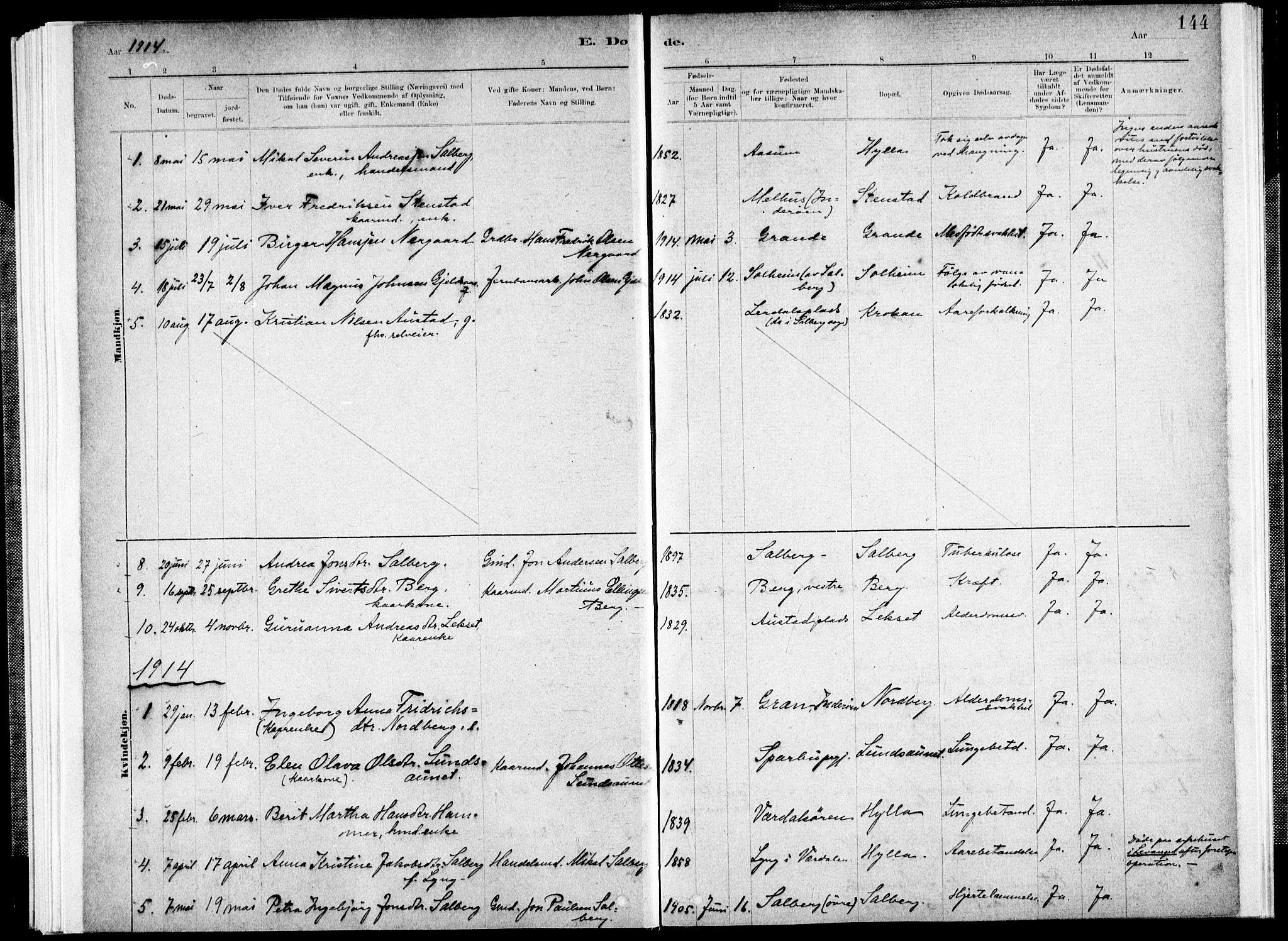 SAT, Ministerialprotokoller, klokkerbøker og fødselsregistre - Nord-Trøndelag, 731/L0309: Ministerialbok nr. 731A01, 1879-1918, s. 144