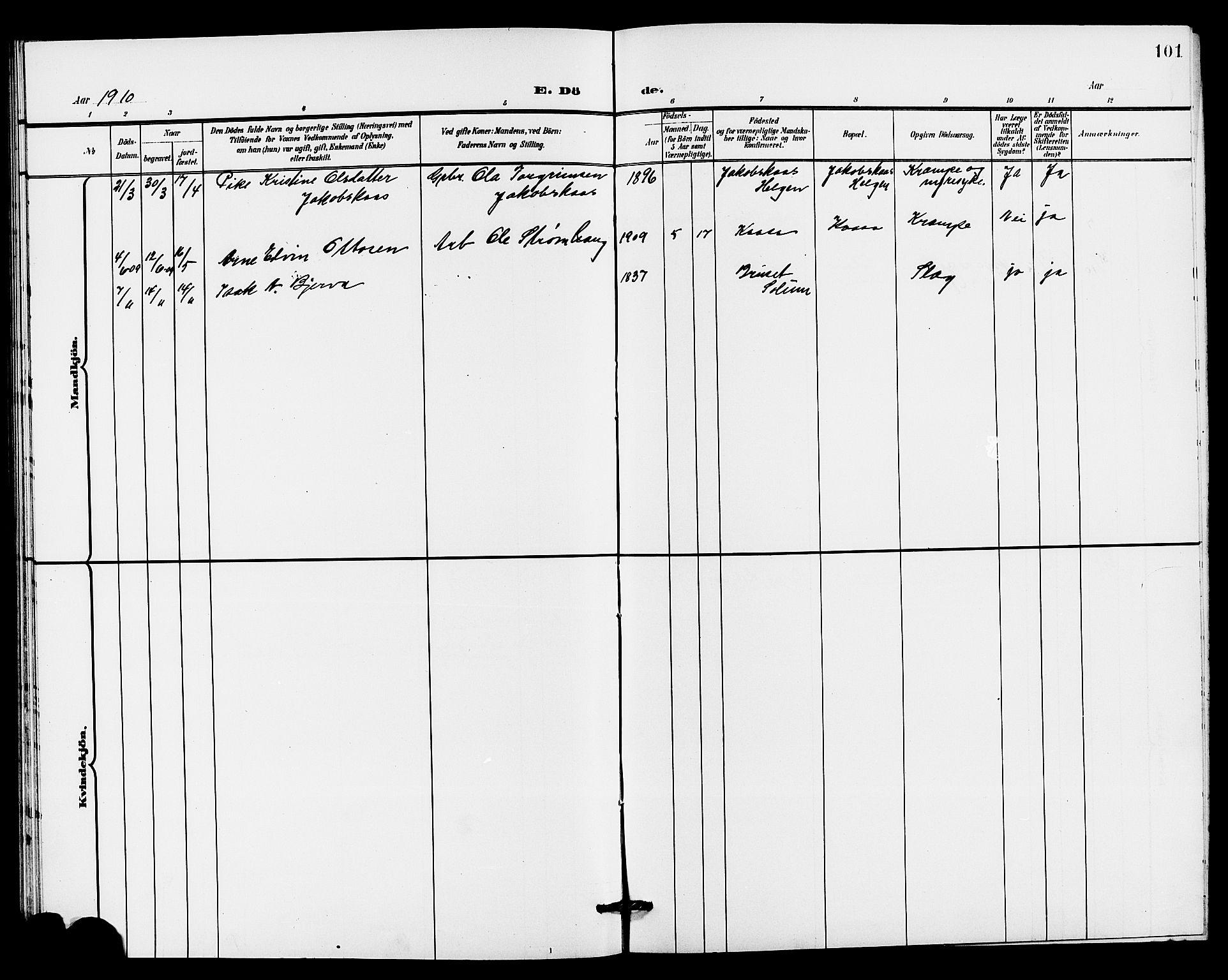 SAKO, Holla kirkebøker, G/Gb/L0002: Klokkerbok nr. II 2, 1897-1913, s. 101