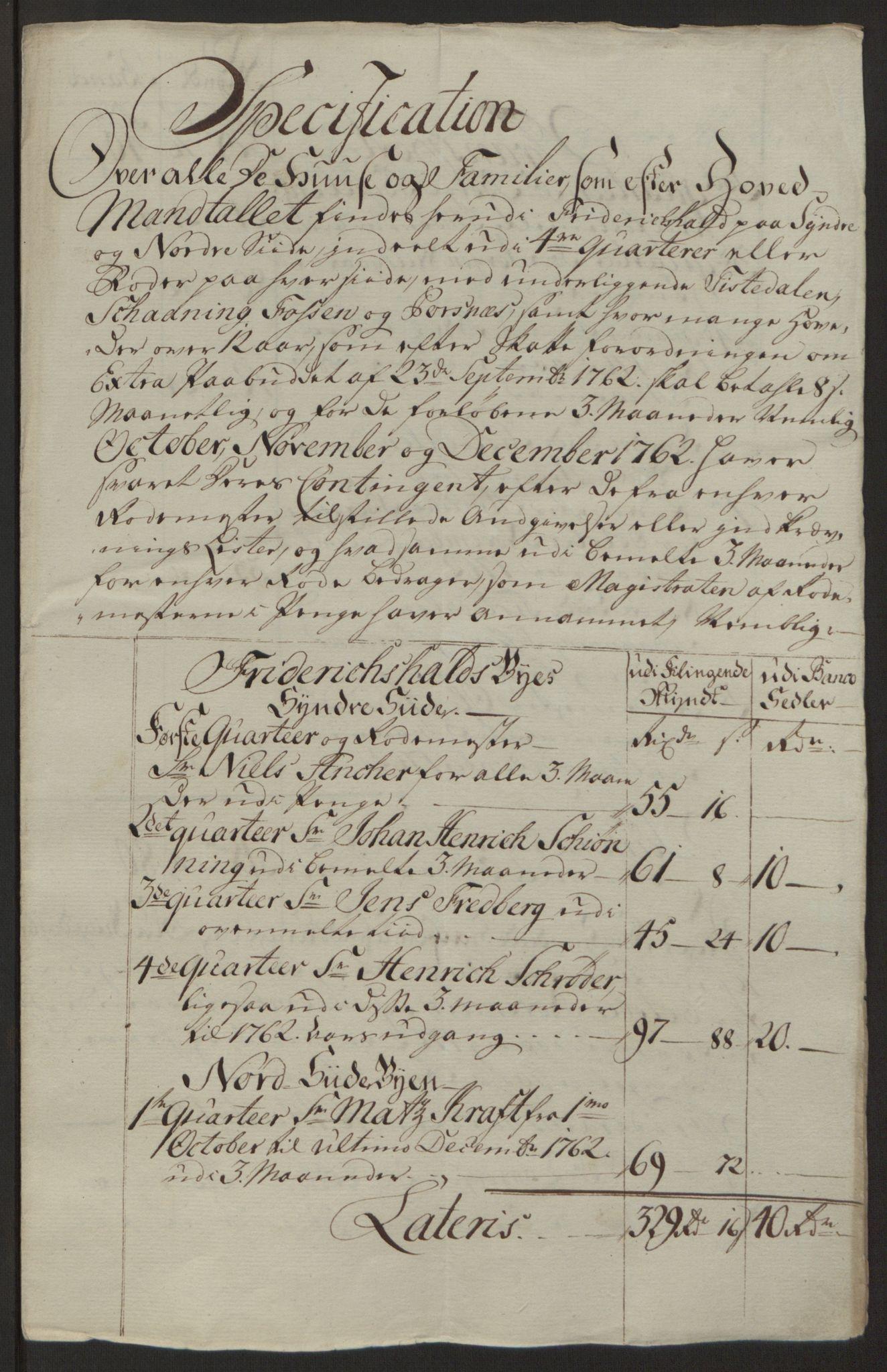 RA, Rentekammeret inntil 1814, Reviderte regnskaper, Byregnskaper, R/Ra/L0006: [A4] Kontribusjonsregnskap, 1762-1772, s. 63