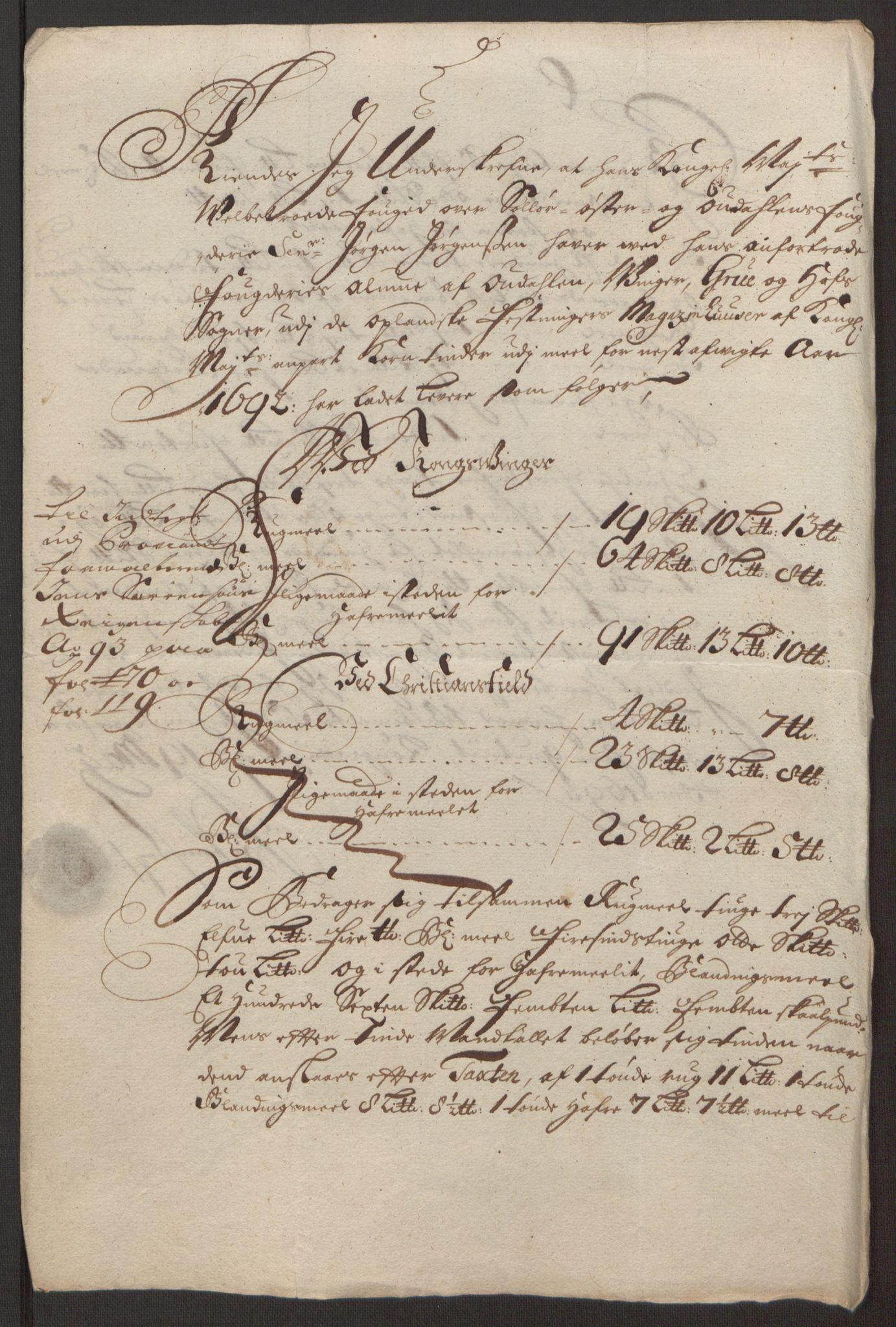 RA, Rentekammeret inntil 1814, Reviderte regnskaper, Fogderegnskap, R13/L0830: Fogderegnskap Solør, Odal og Østerdal, 1692, s. 345