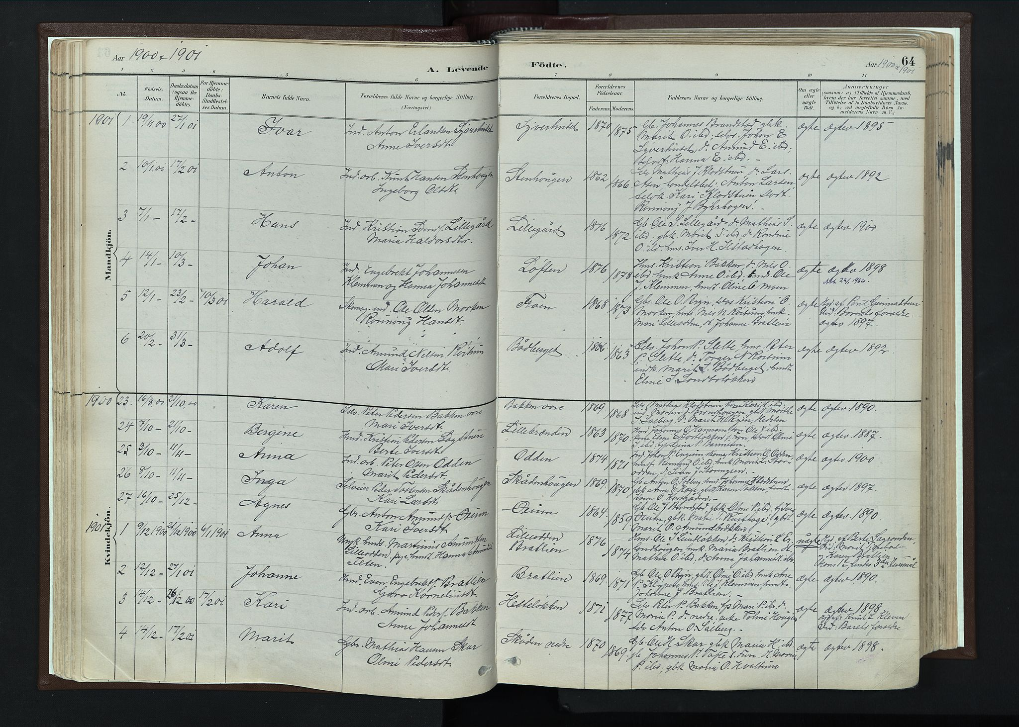 SAH, Nord-Fron prestekontor, Ministerialbok nr. 4, 1884-1914, s. 64