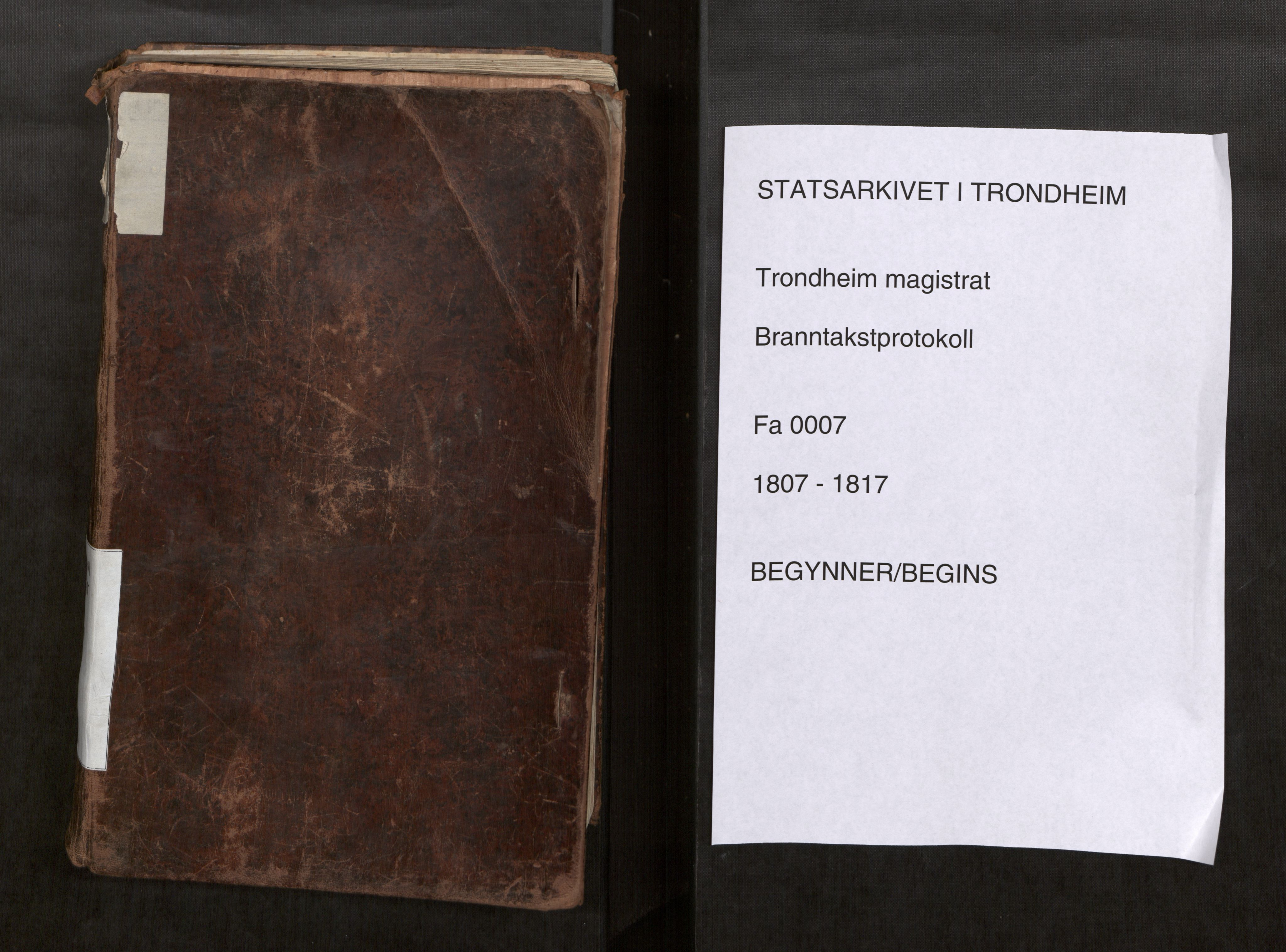 SAT, Norges Brannkasse Trondheim magistrat, Fa/L0009: Branntakstprotokoll K11, 1807-1817