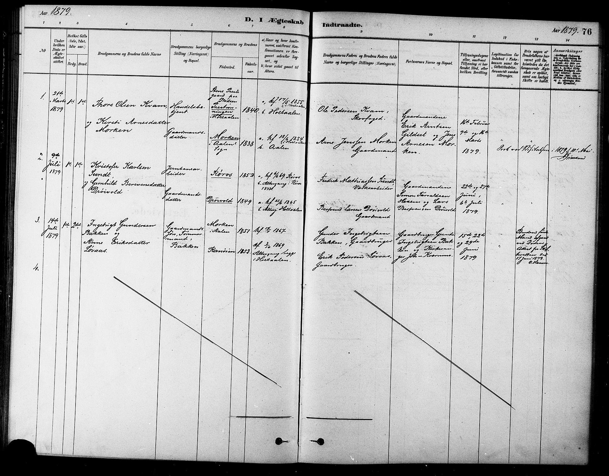 SAT, Ministerialprotokoller, klokkerbøker og fødselsregistre - Sør-Trøndelag, 685/L0972: Ministerialbok nr. 685A09, 1879-1890, s. 76