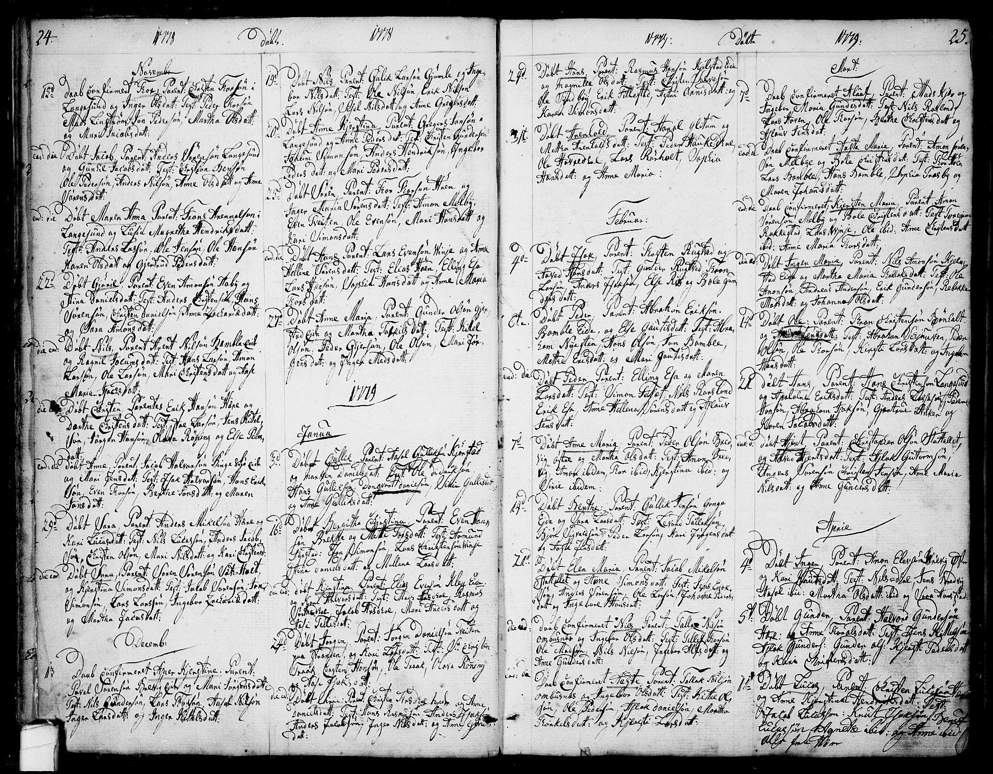 SAKO, Bamble kirkebøker, F/Fa/L0002: Ministerialbok nr. I 2, 1775-1814, s. 24-25