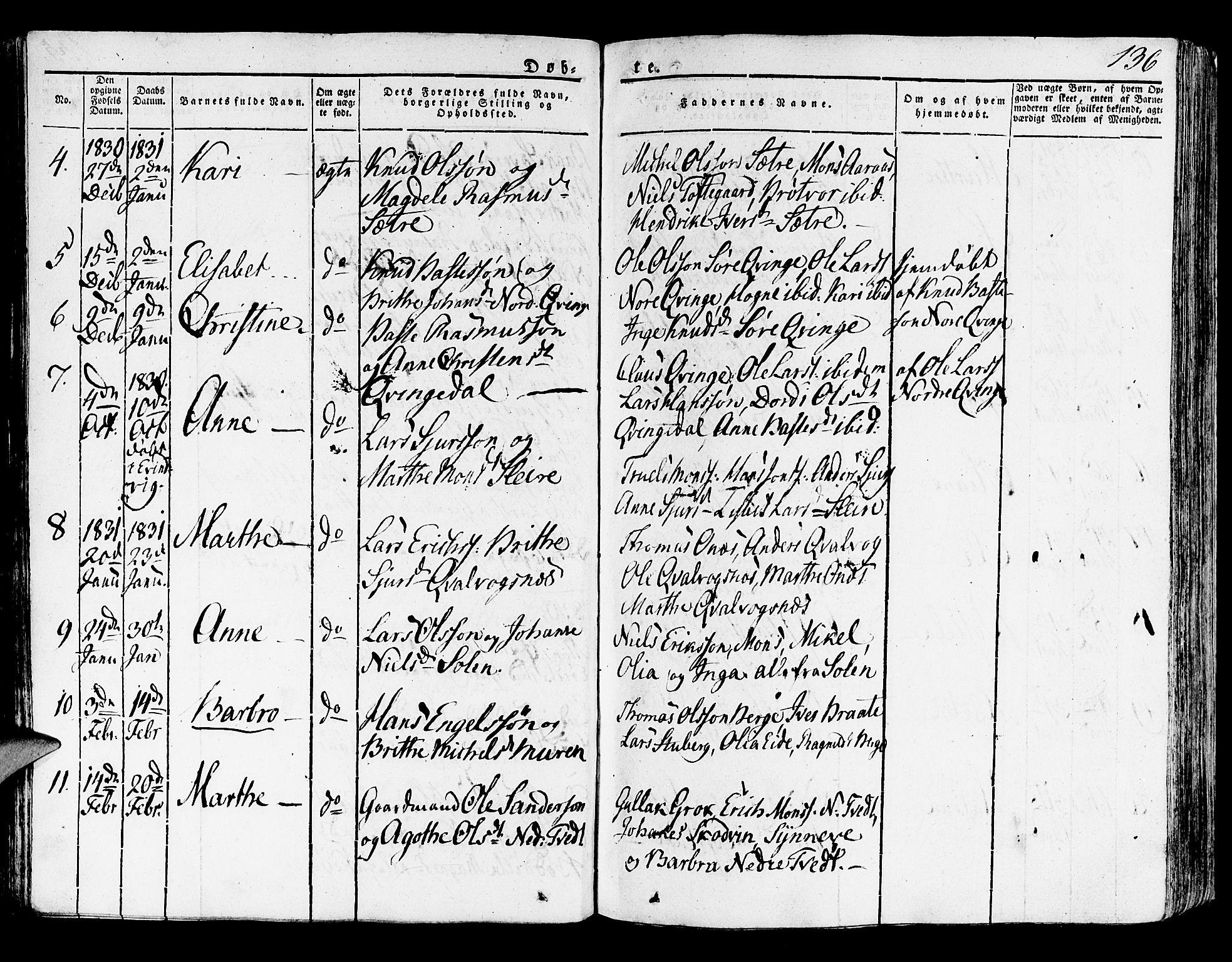 SAB, Lindås Sokneprestembete, H/Haa: Ministerialbok nr. A 8, 1823-1836, s. 136