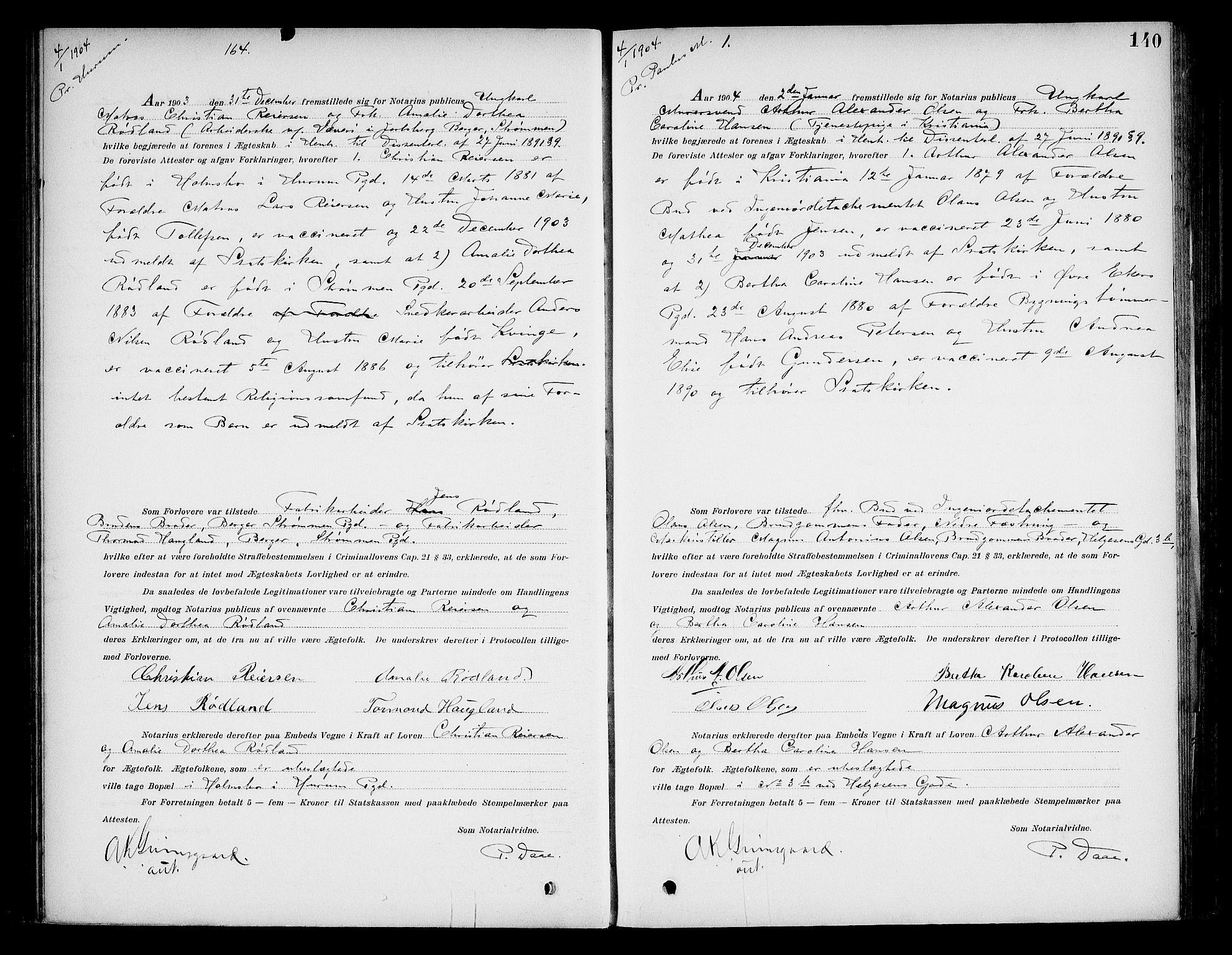 SAO, Oslo byfogd avd. I, L/Lb/Lbb/L0006: Notarialprotokoll, rekke II: Vigsler, 1902-1907, s. 139b-140a