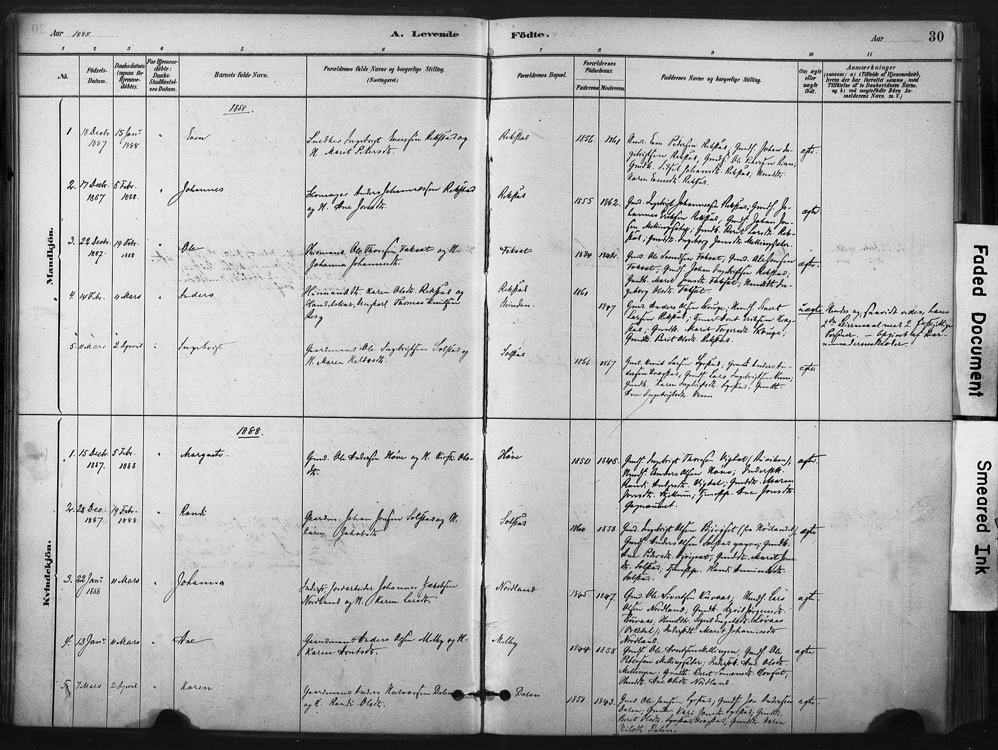 SAT, Ministerialprotokoller, klokkerbøker og fødselsregistre - Sør-Trøndelag, 667/L0795: Ministerialbok nr. 667A03, 1879-1907, s. 30