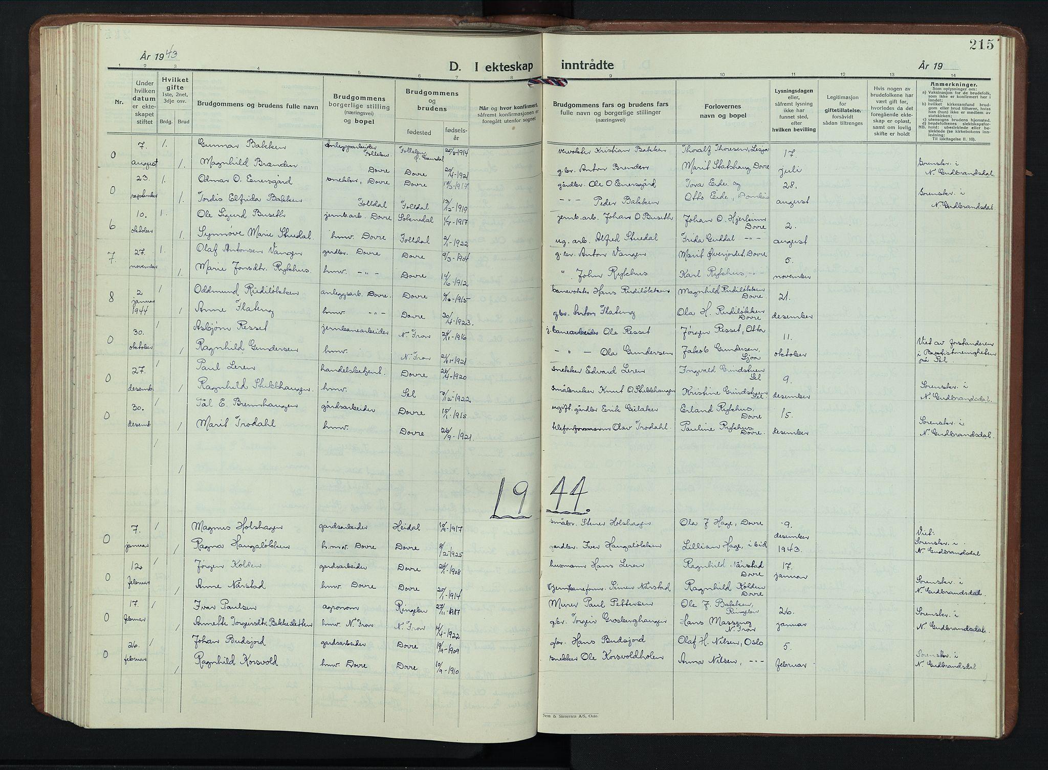 SAH, Dovre prestekontor, Klokkerbok nr. 4, 1926-1949, s. 215