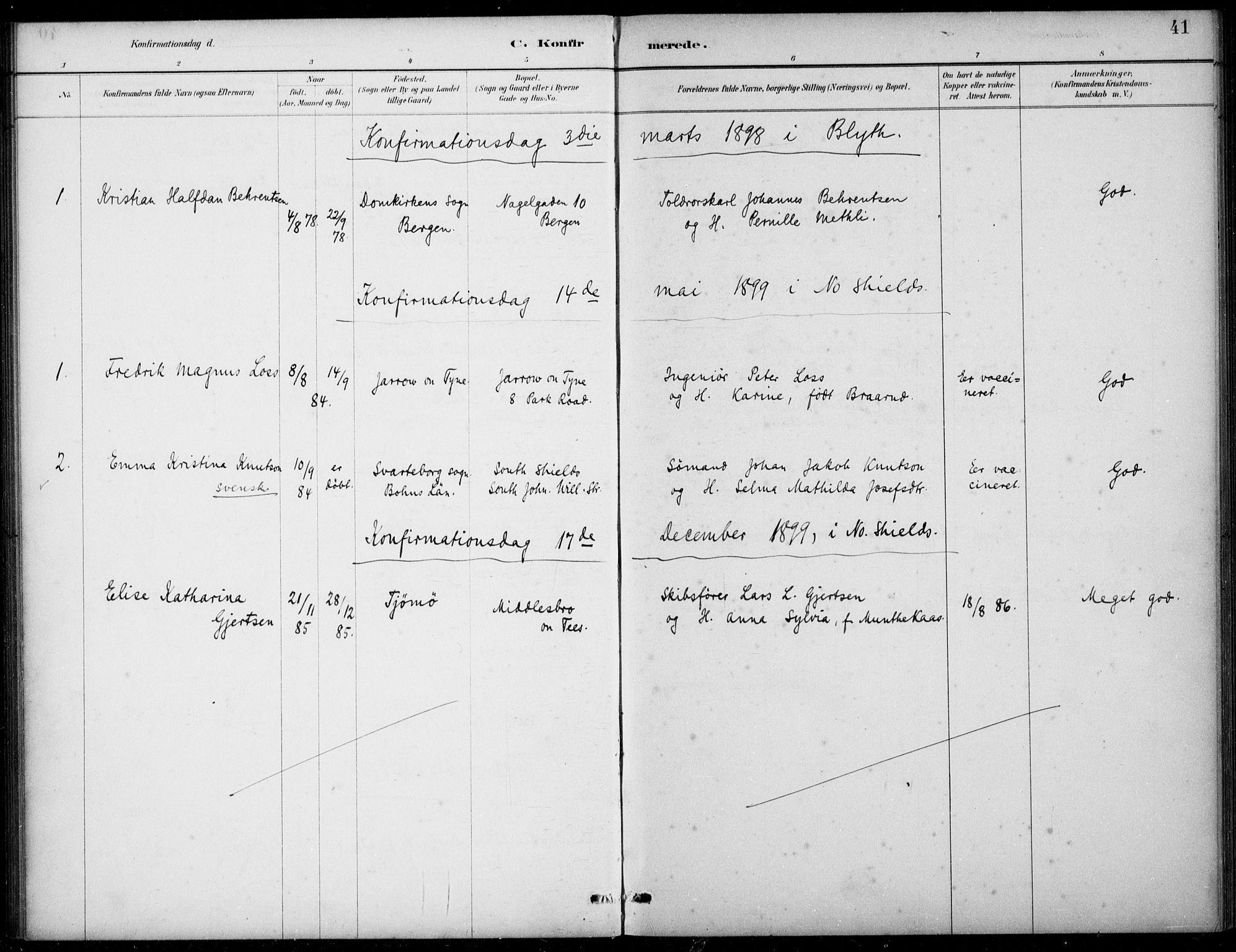 SAB, Den Norske Sjømannsmisjon i utlandet*, Ministerialbok nr. A 2, 1883-1936, s. 41