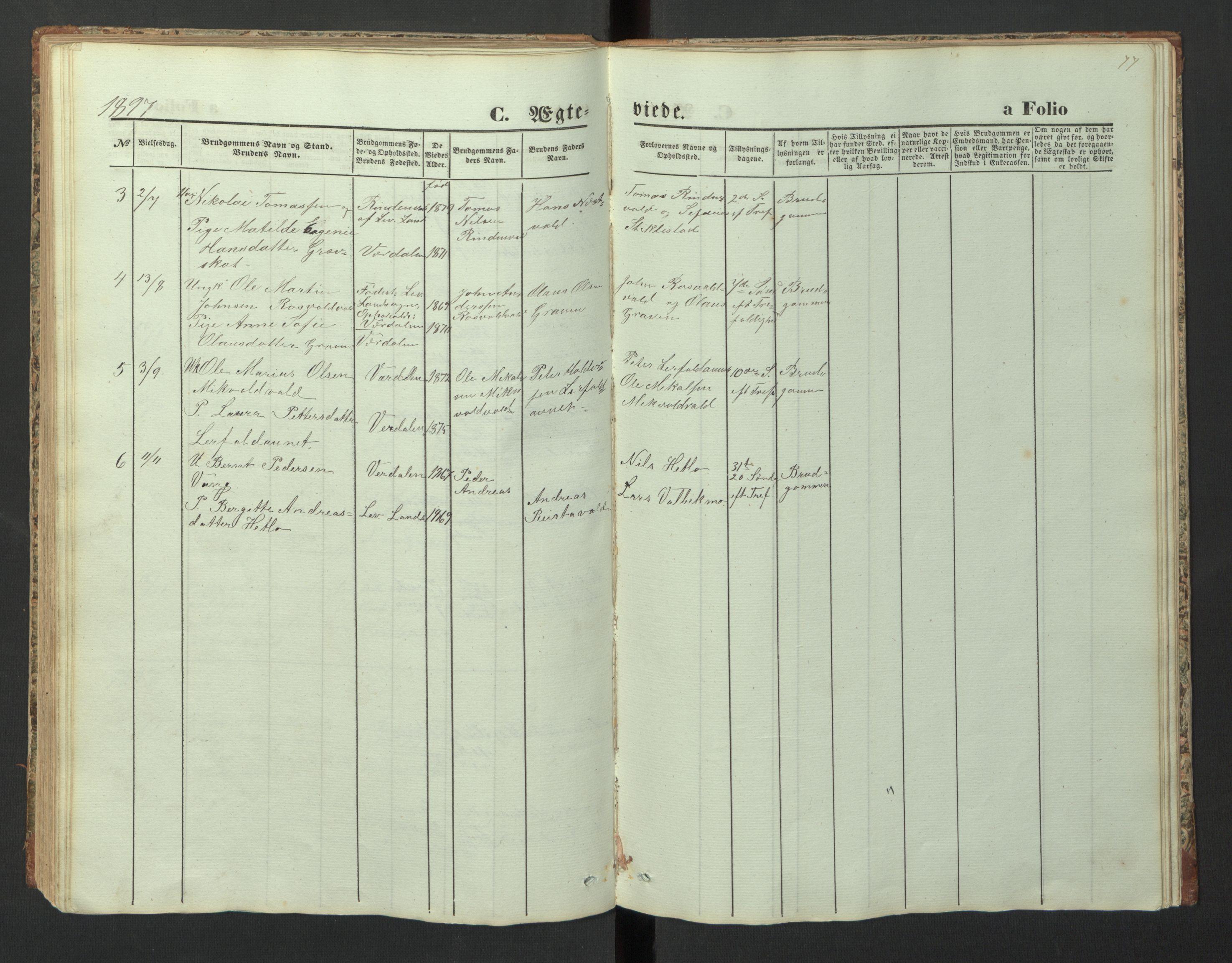SAT, Ministerialprotokoller, klokkerbøker og fødselsregistre - Nord-Trøndelag, 726/L0271: Klokkerbok nr. 726C02, 1869-1897, s. 77