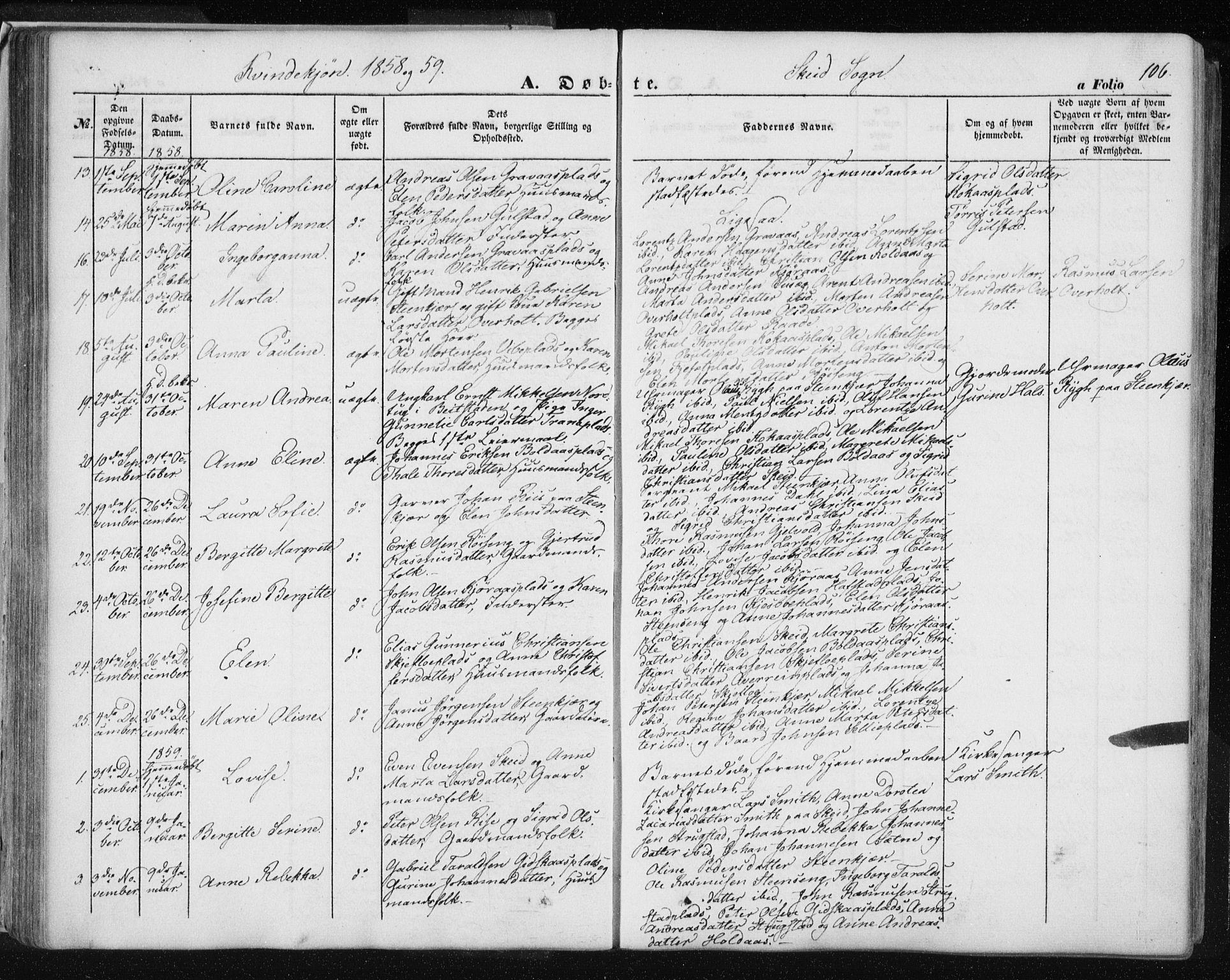 SAT, Ministerialprotokoller, klokkerbøker og fødselsregistre - Nord-Trøndelag, 735/L0342: Ministerialbok nr. 735A07 /2, 1849-1862, s. 106