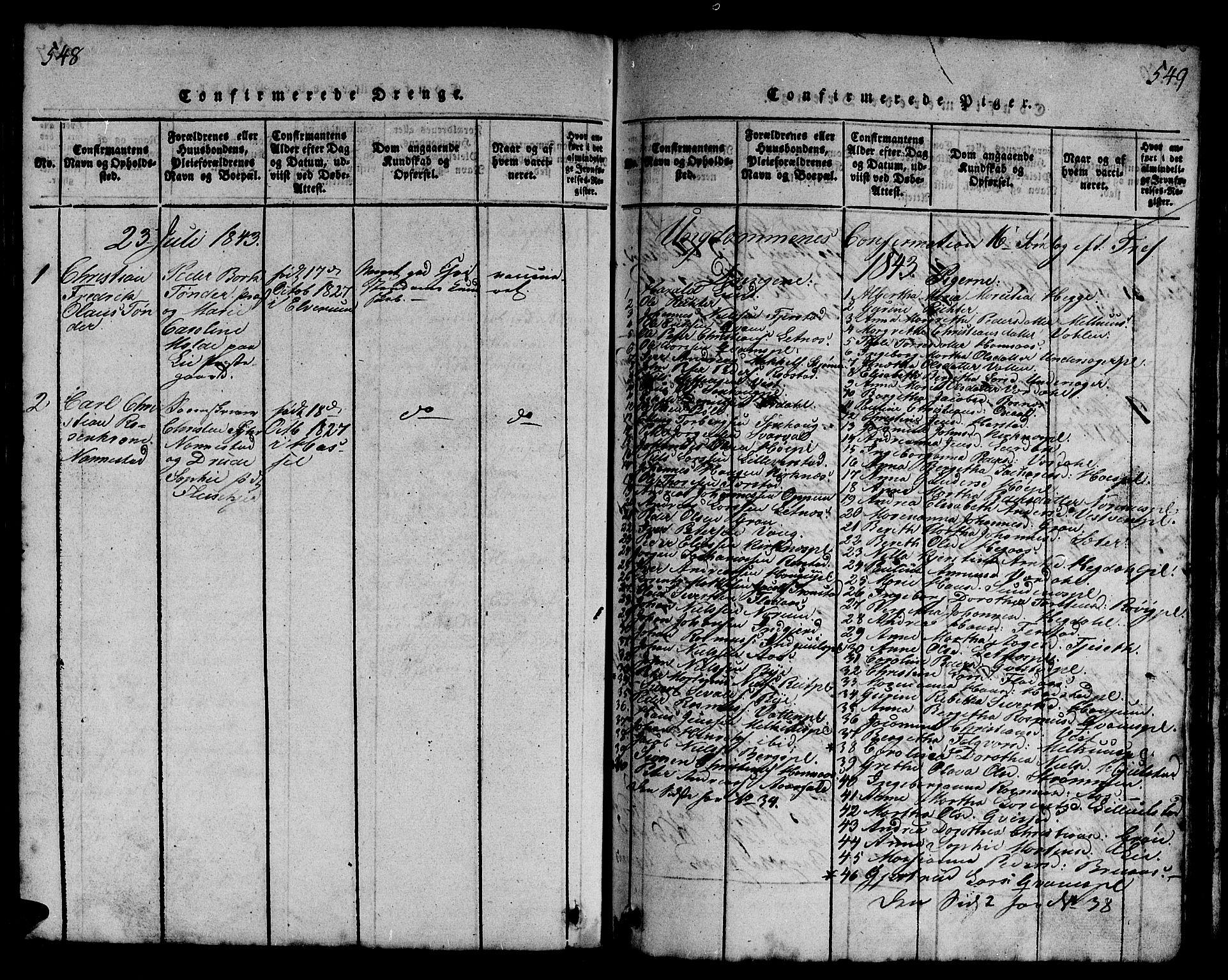 SAT, Ministerialprotokoller, klokkerbøker og fødselsregistre - Nord-Trøndelag, 730/L0298: Klokkerbok nr. 730C01, 1816-1849, s. 548-549