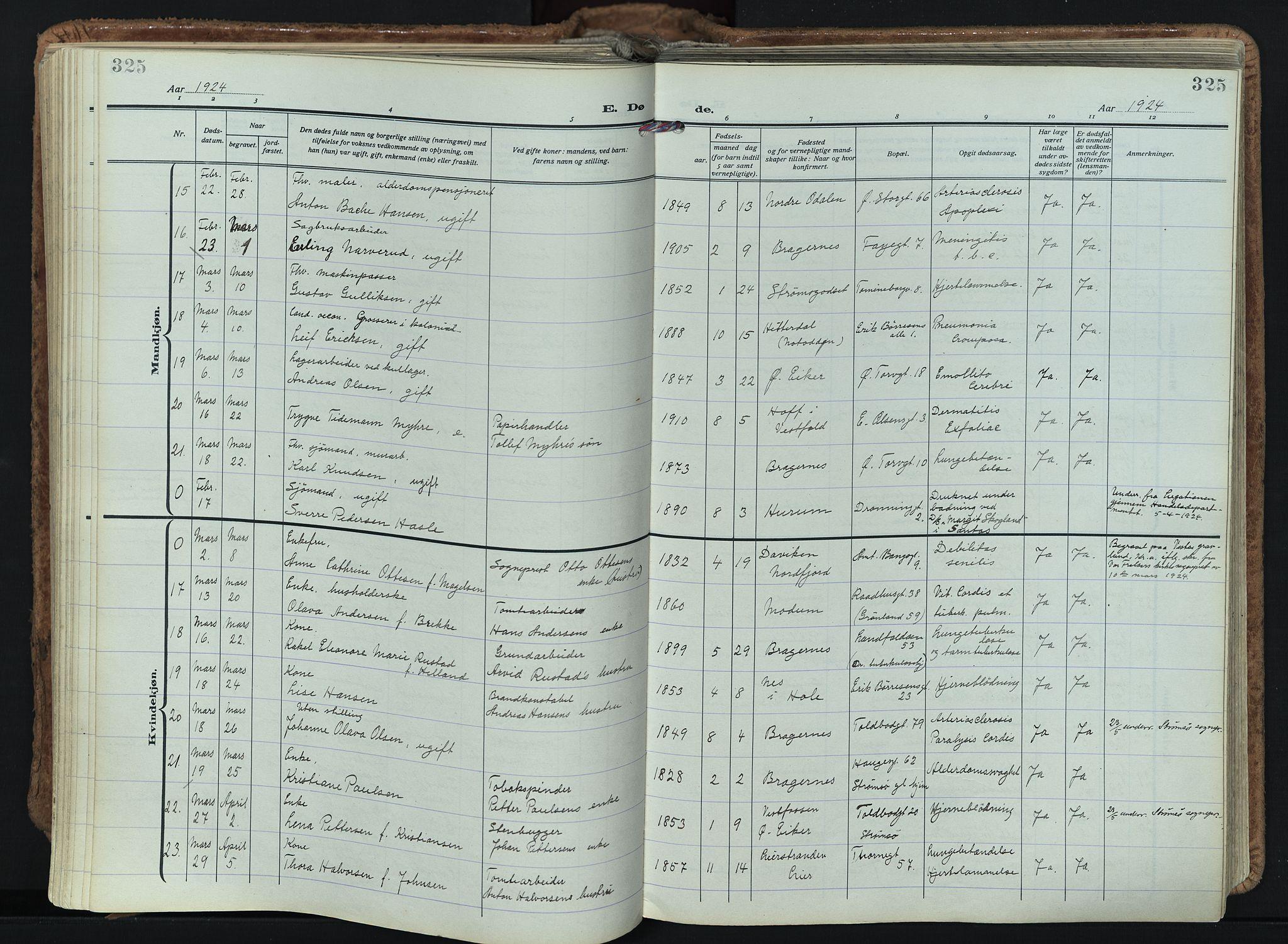 SAKO, Bragernes kirkebøker, F/Fb/L0011: Ministerialbok nr. II 11, 1922-1945, s. 325