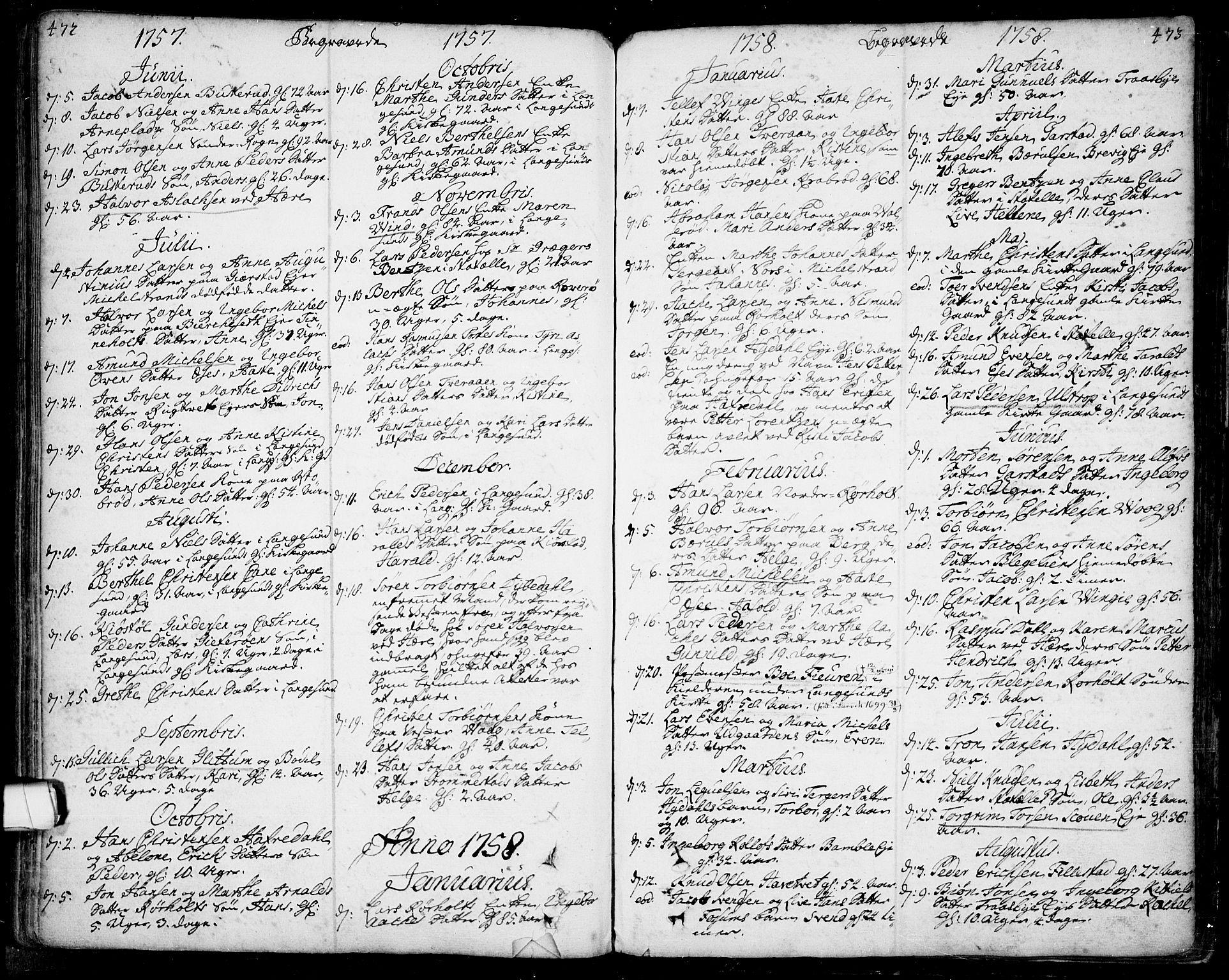 SAKO, Bamble kirkebøker, F/Fa/L0001: Ministerialbok nr. I 1, 1702-1774, s. 472-473