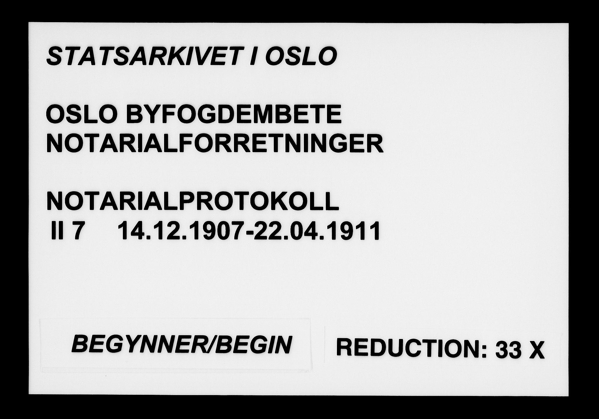 SAO, Oslo byfogd avd. I, L/Lb/Lbb/L0007: Notarialprotokoll, rekke II: Vigsler, 1907-1911, s. upaginert