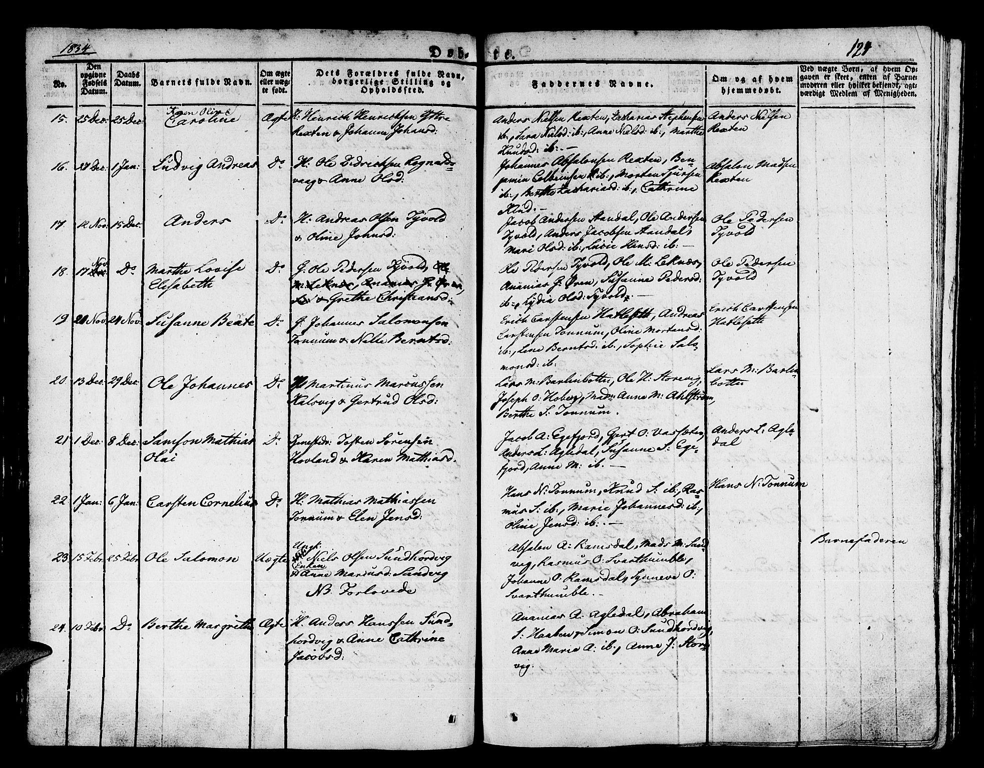 SAB, Kinn Sokneprestembete, Ministerialbok nr. A 4I, 1822-1840, s. 124