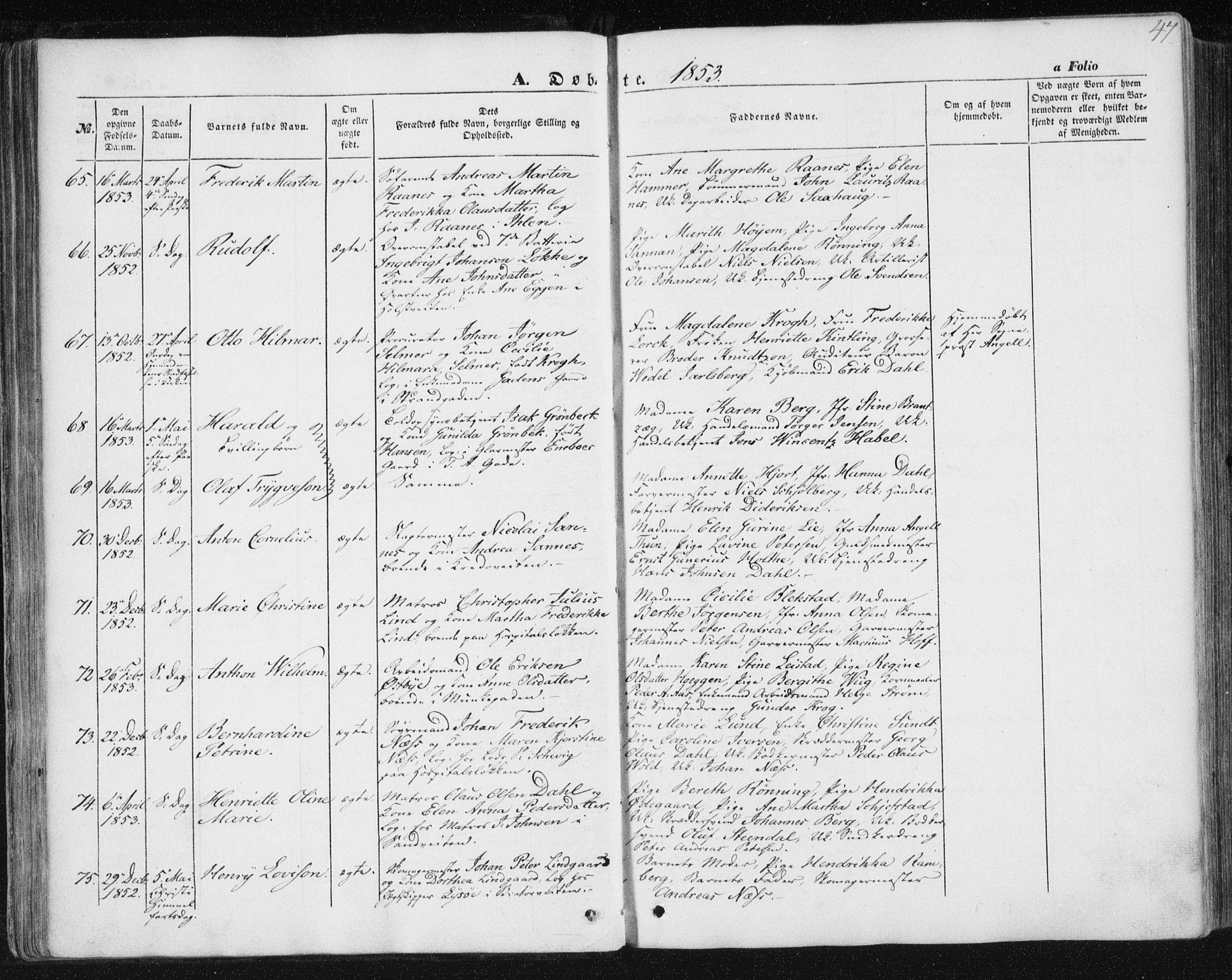 SAT, Ministerialprotokoller, klokkerbøker og fødselsregistre - Sør-Trøndelag, 602/L0112: Ministerialbok nr. 602A10, 1848-1859, s. 47