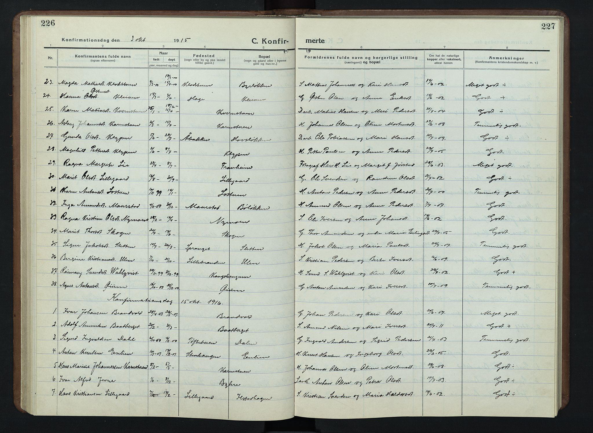 SAH, Nord-Fron prestekontor, Klokkerbok nr. 7, 1915-1946, s. 226-227