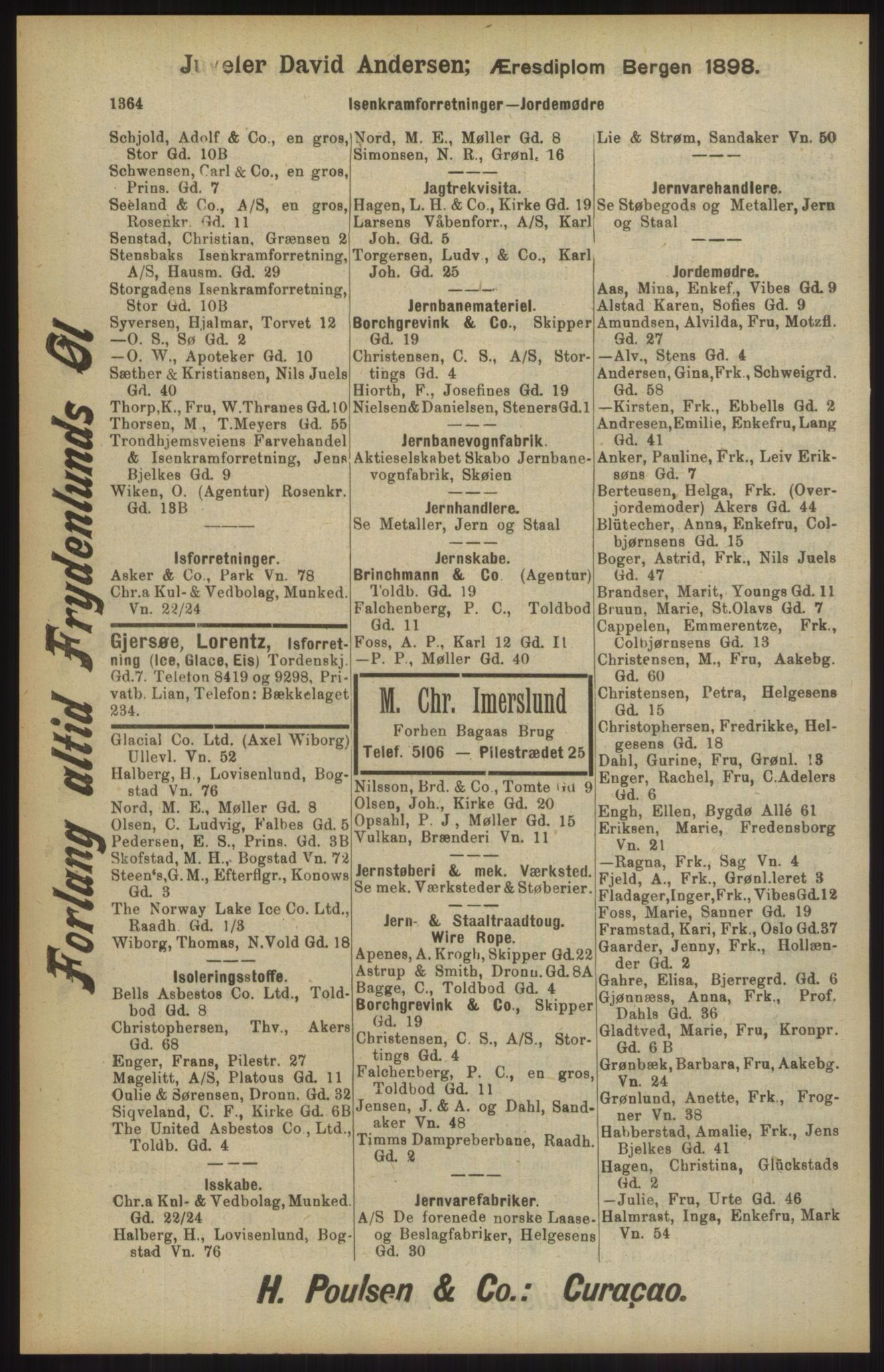 RA, Kristiania adressebok (publikasjon)*, 1904, s. 1364