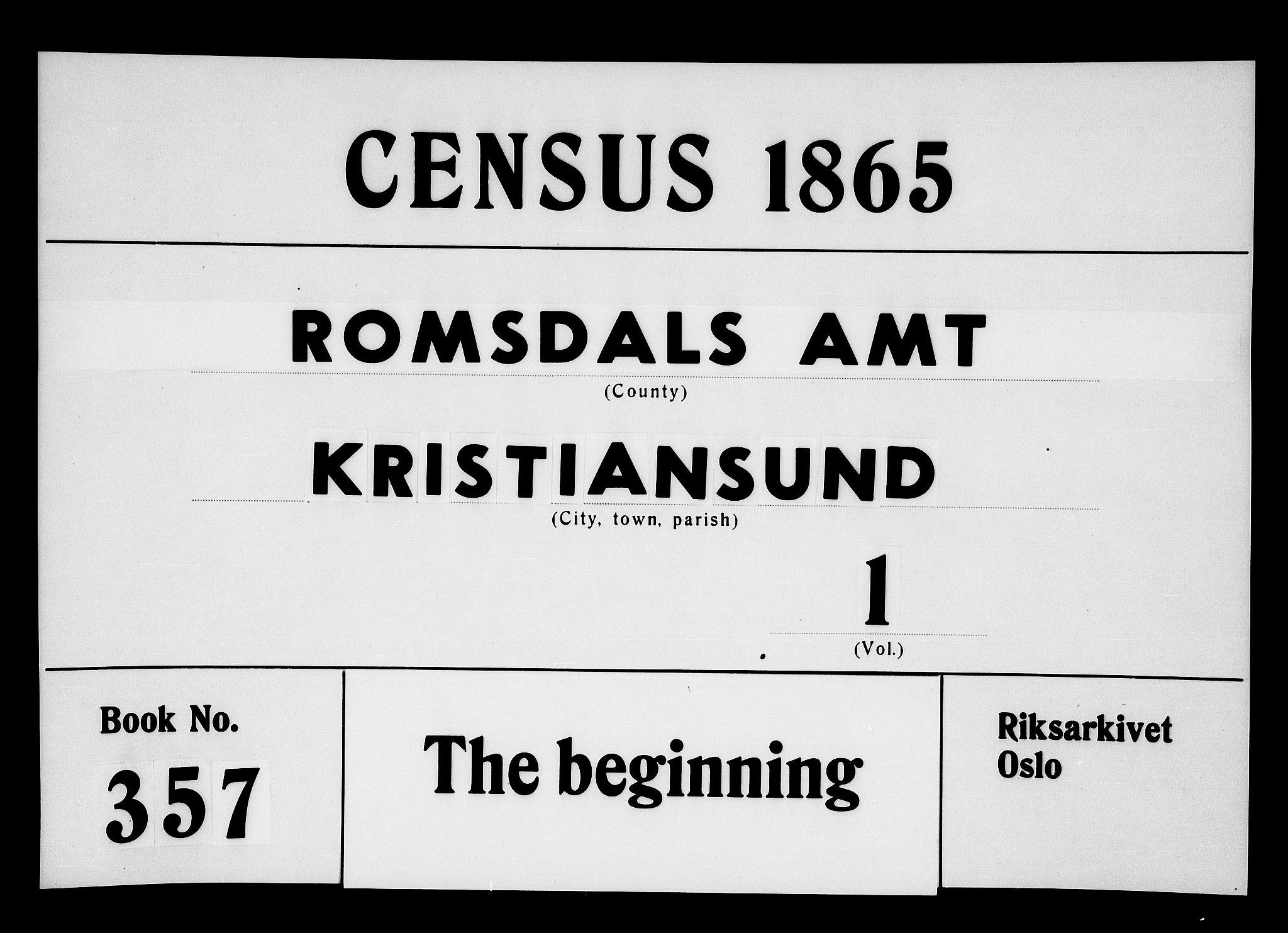 RA, Folketelling 1865 for 1503B Kristiansund prestegjeld, Kristiansund kjøpstad, 1865, s. 1