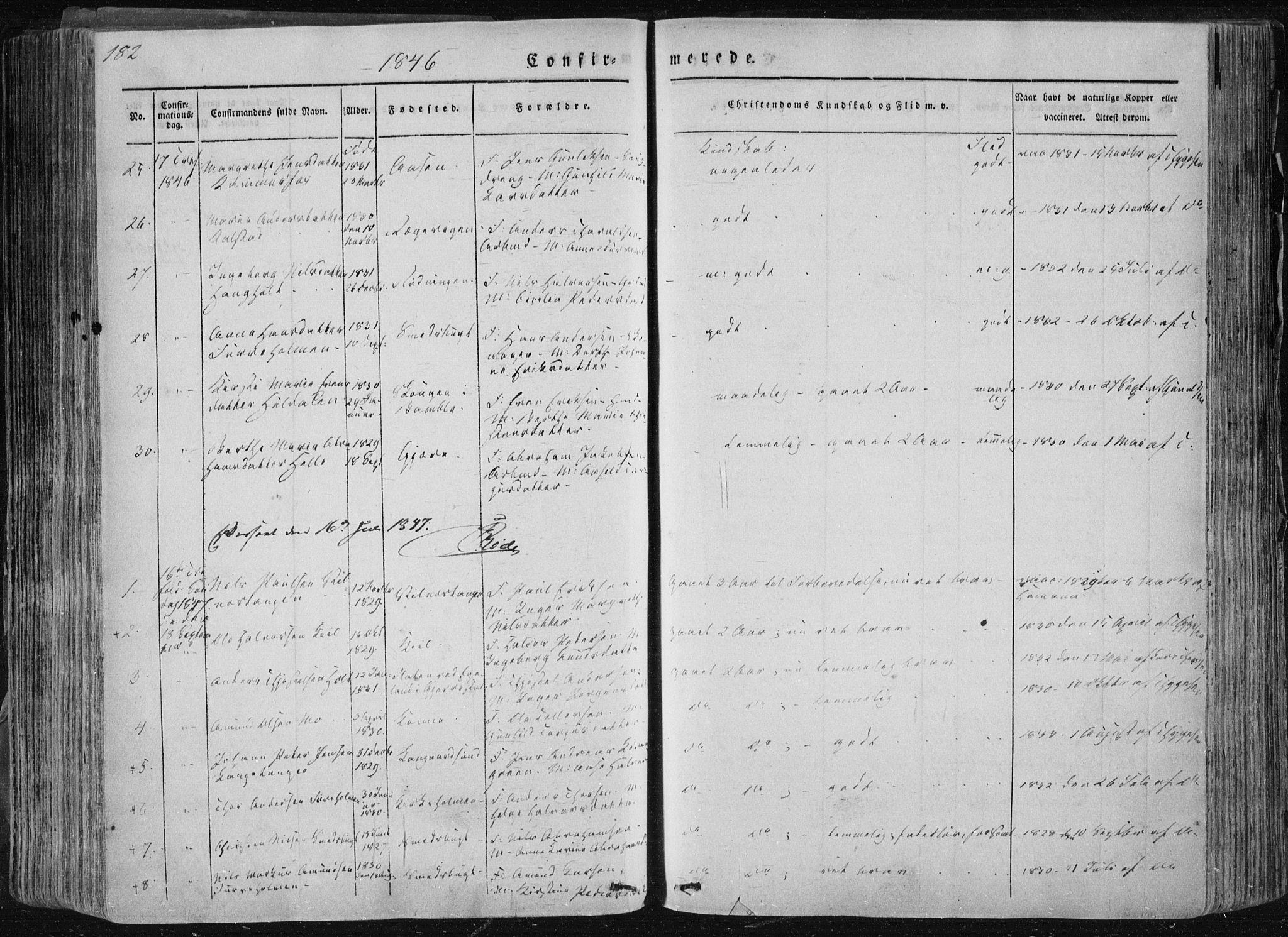 SAKO, Sannidal kirkebøker, F/Fa/L0007: Ministerialbok nr. 7, 1831-1854, s. 182