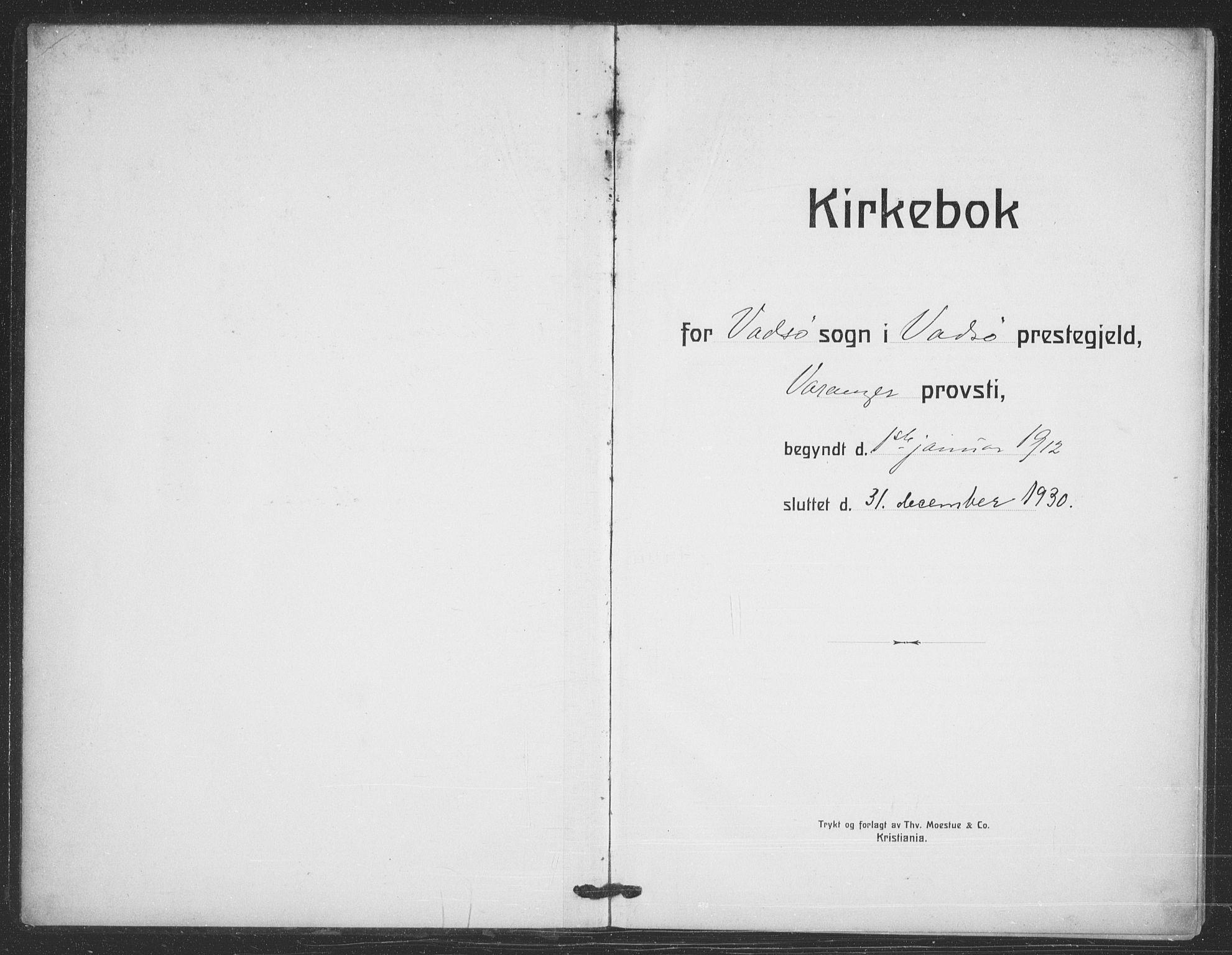 SATØ, Vadsø sokneprestkontor, H/Ha/L0008kirke: Ministerialbok nr. 8, 1912-1930